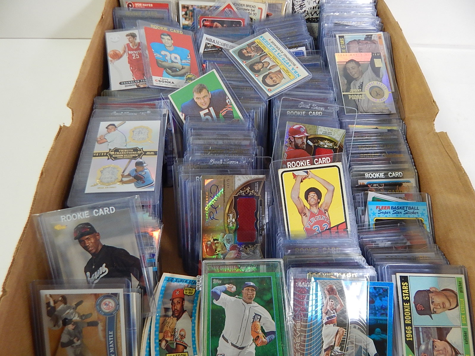 Box of Mostly Top Loaded Baseball, Basketball, Football Cards 1970s and Up