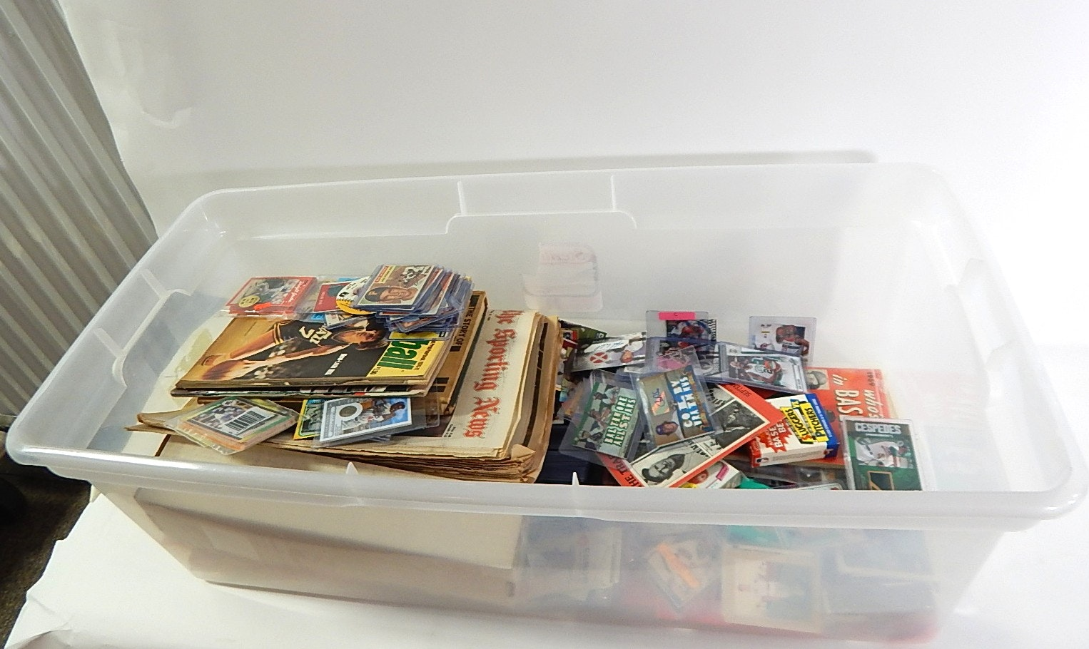 Large Tub of Sports Cards and Collectibles with Magazines, Cards, Etc.