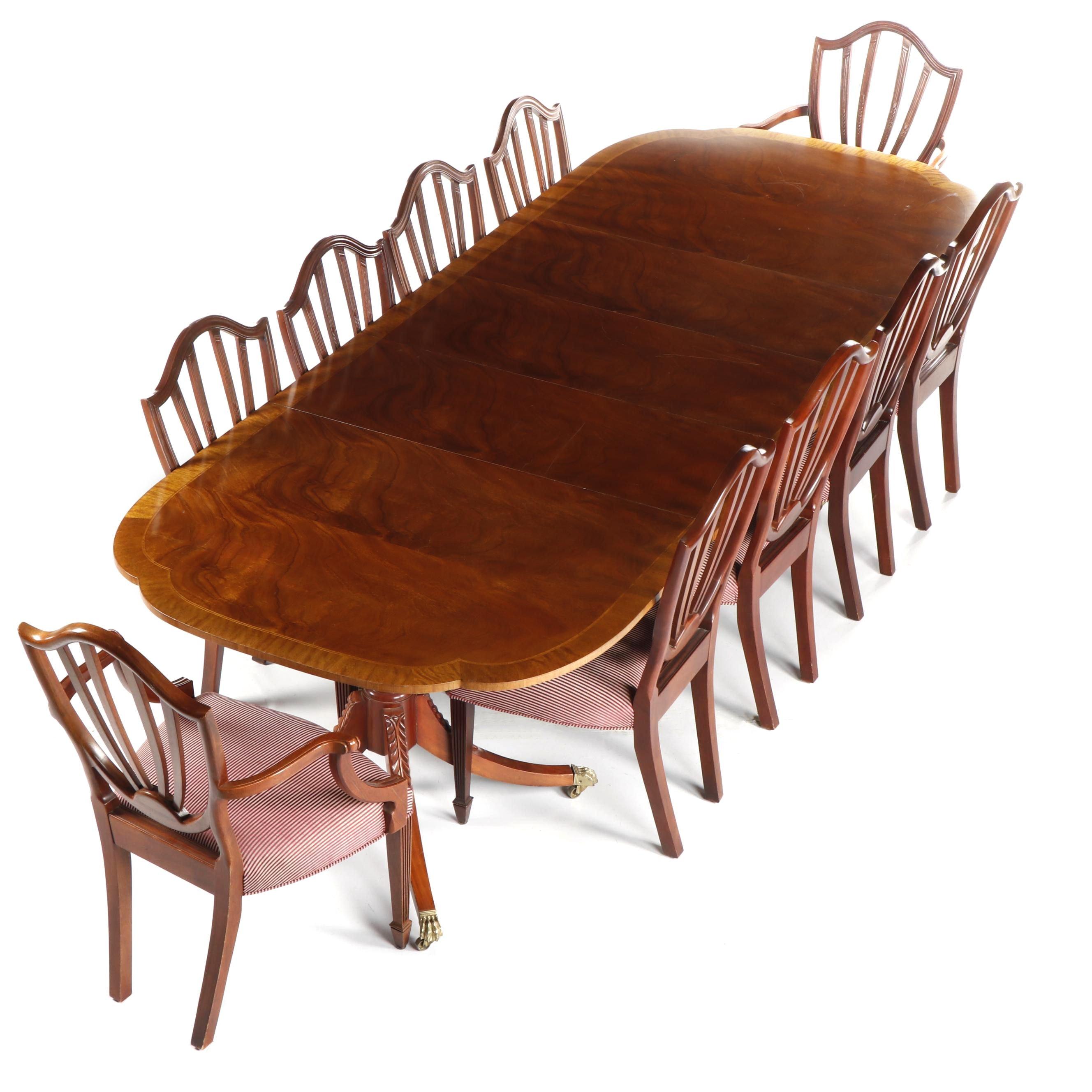 Baker Historic Charleston Mahogany Table & Baker Hepplewhite Style Chairs
