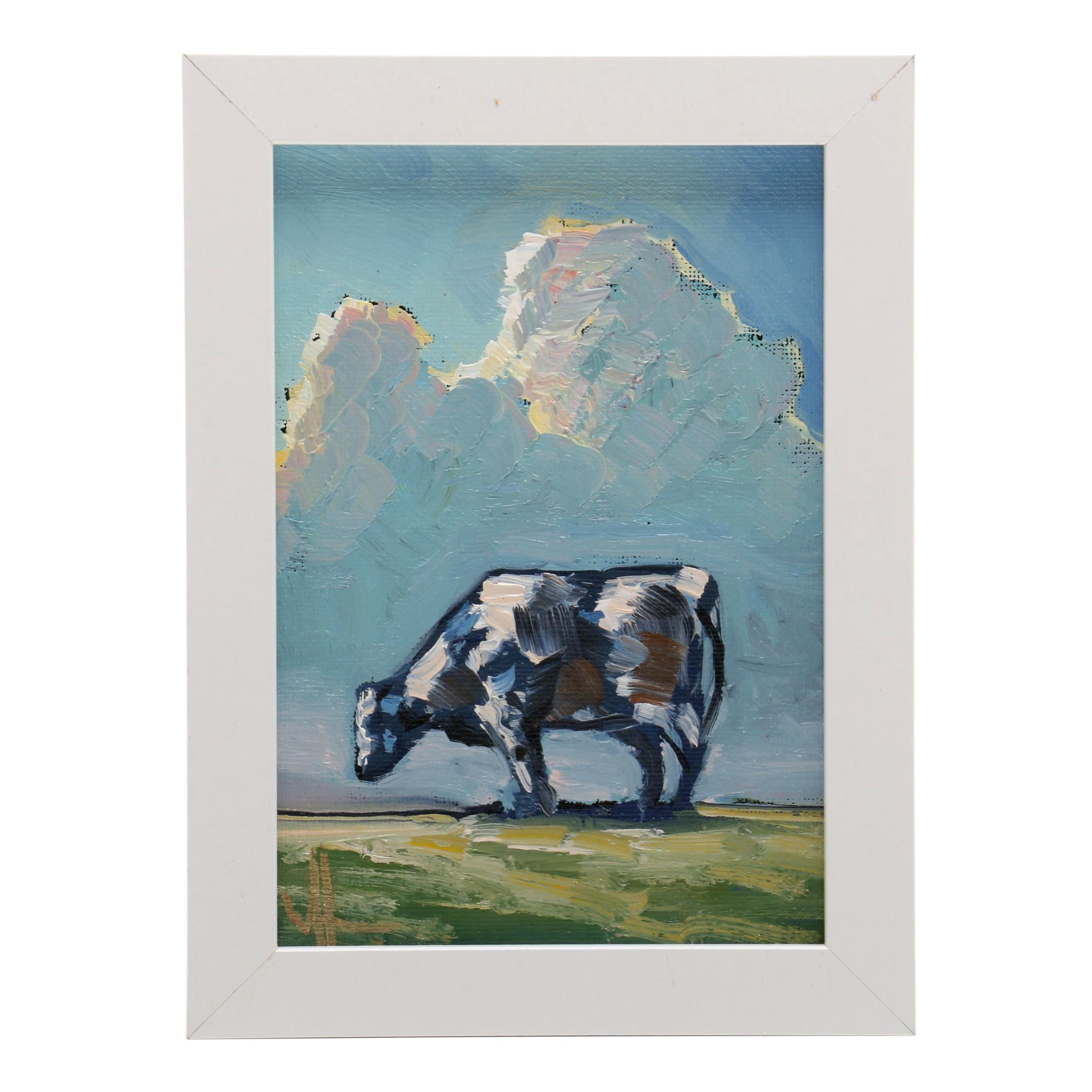 William Hawkins Oil Painting of Cow