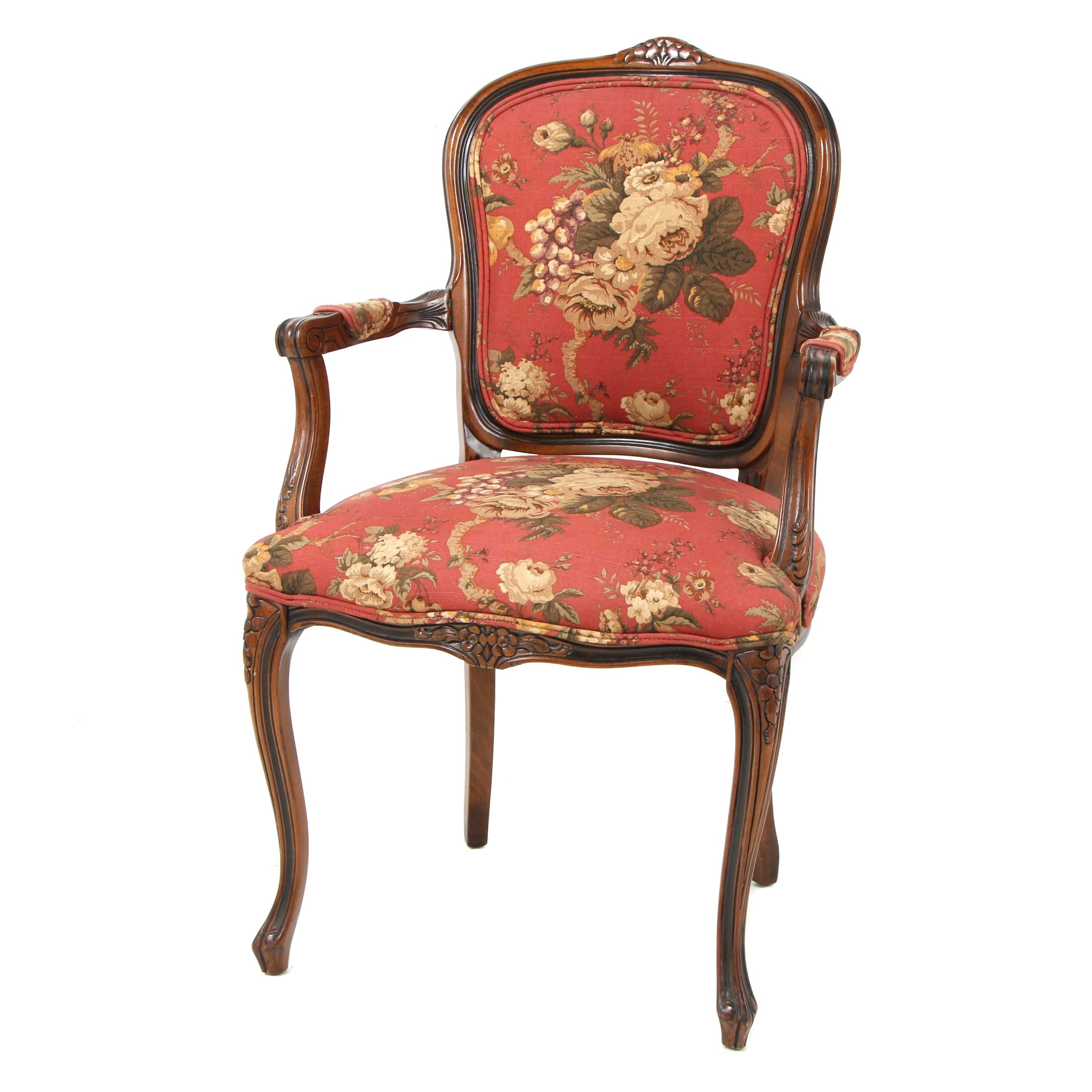 Queen Anne-Style Armchair with Floral Upholstery
