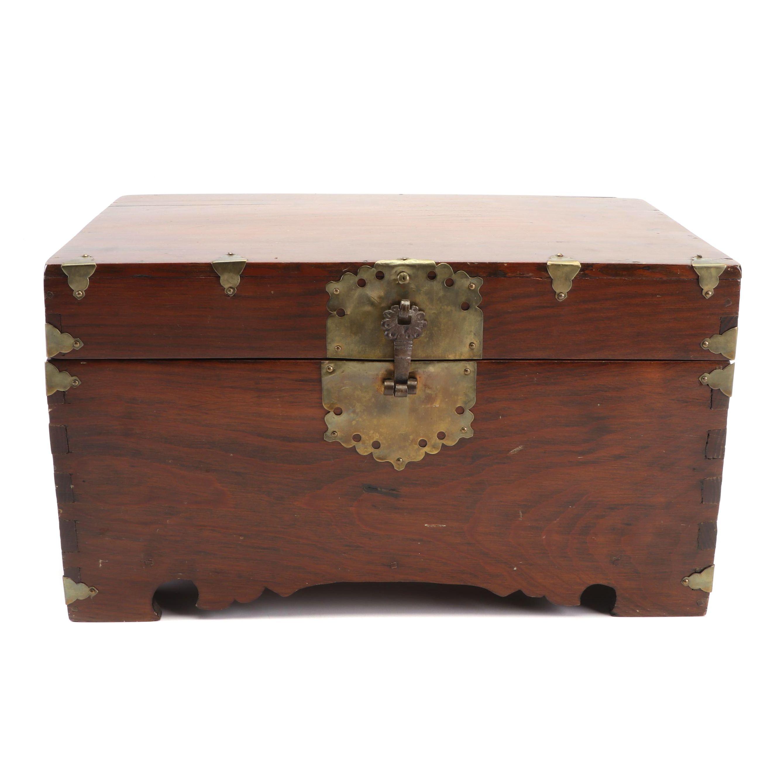 Korean Yi Dynasty Brass Mounted Mahogany Treasure Box, 19th Century