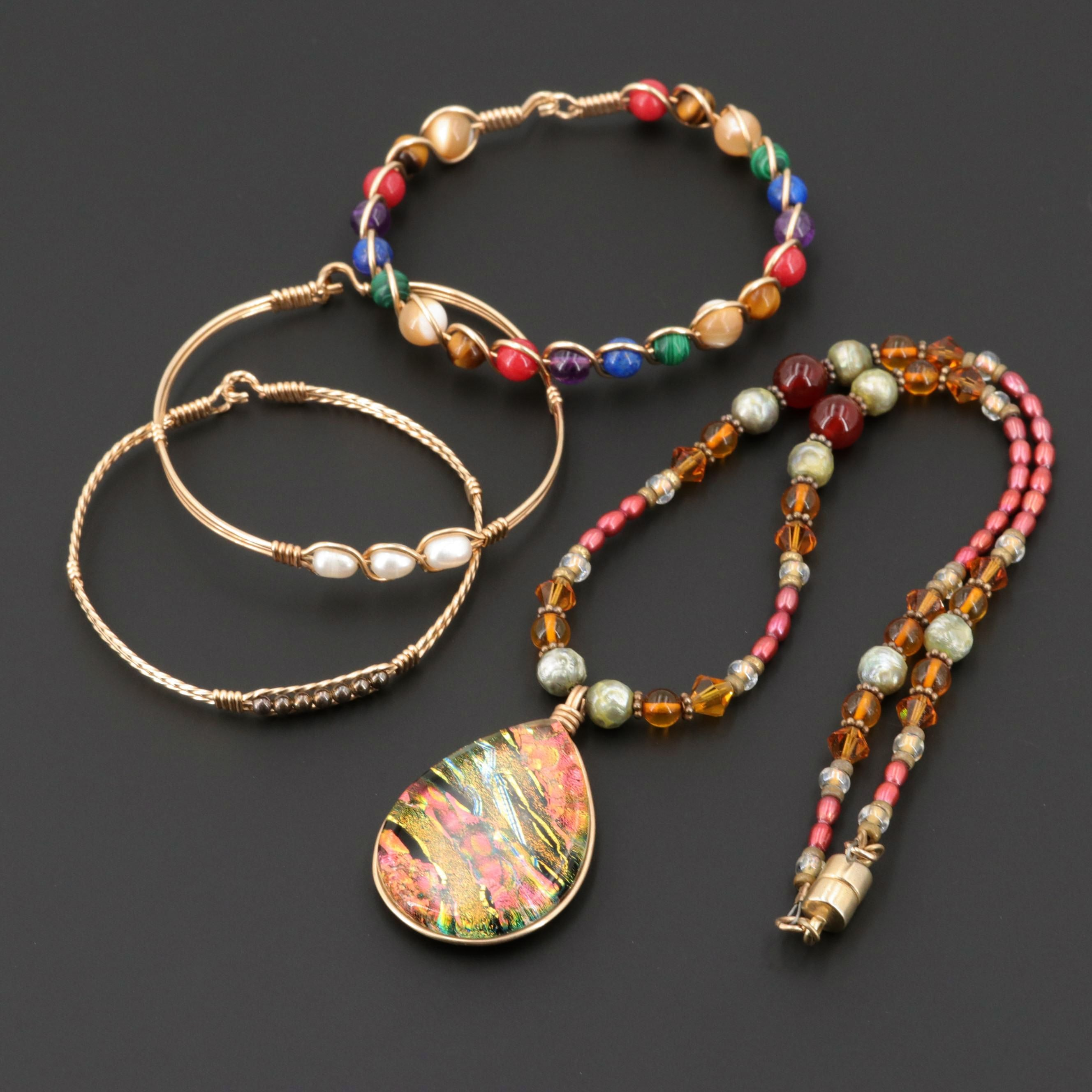 Cultured Pearl, Quartz Variety, Lapis Lazuli and Glass Necklace and Bracelets