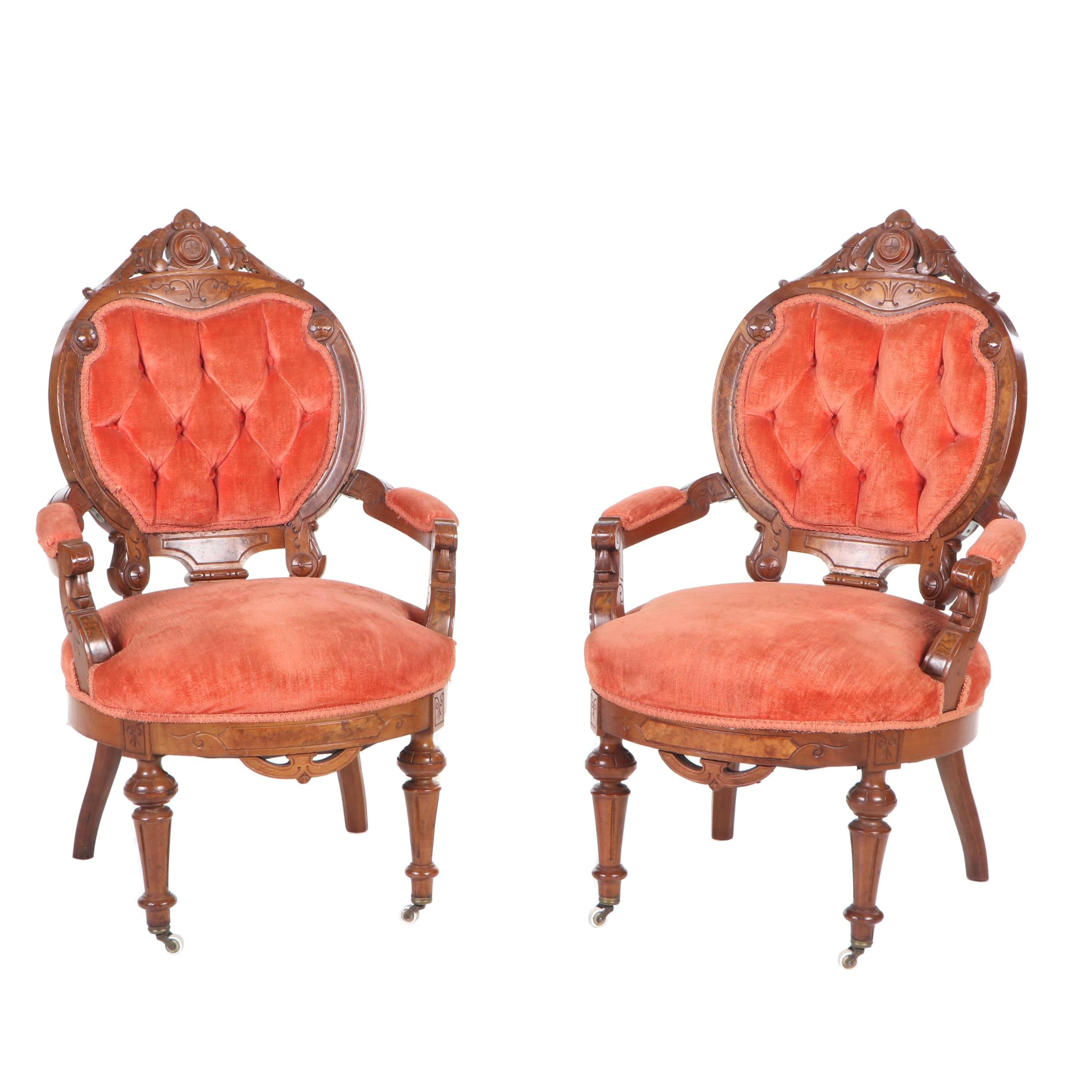 Victorian Eastlake Carved Walnut Parlor Chairs, circa 1900