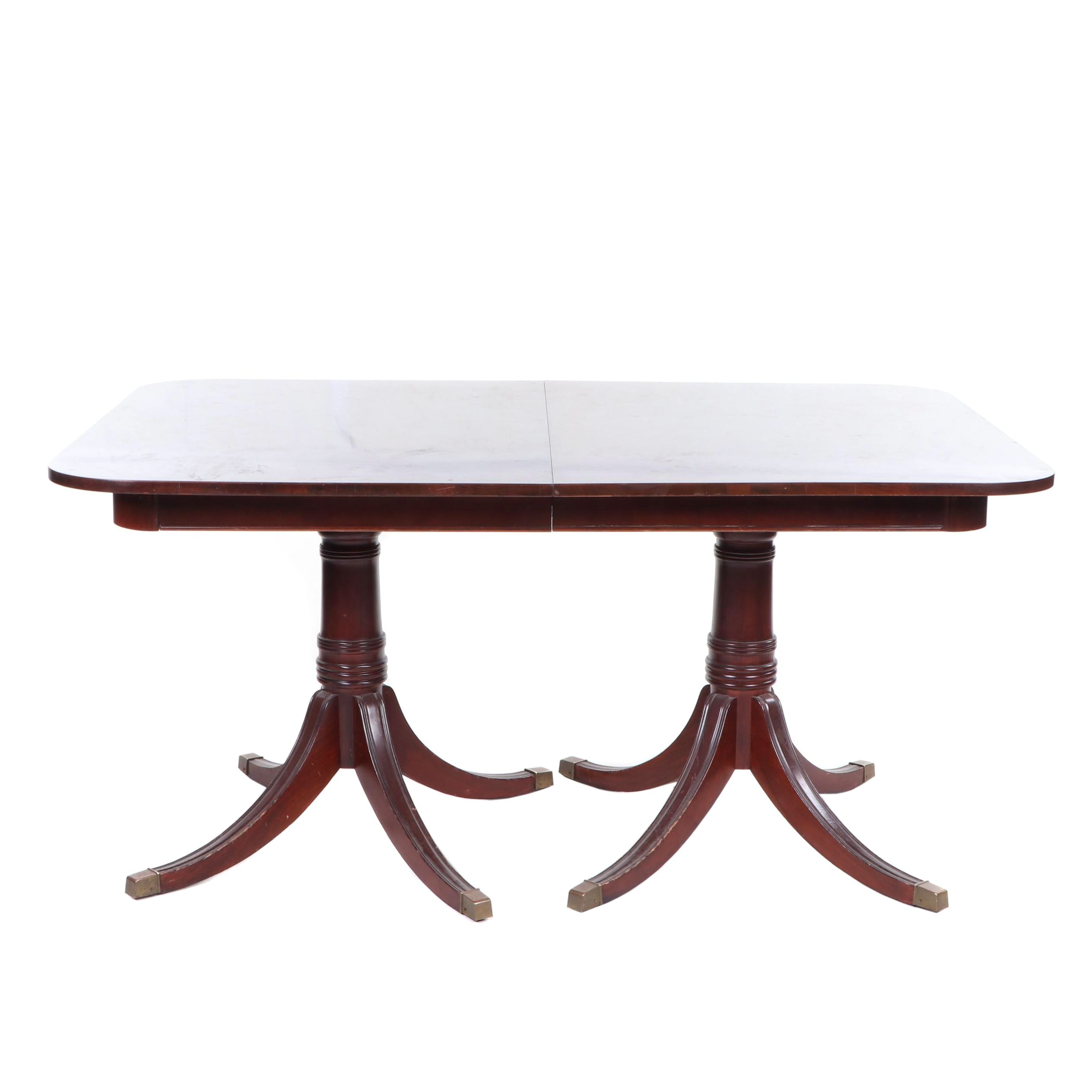 Duncan Phyfe Style Mahogany Double Pedestal Dining Room Table, Contemporary