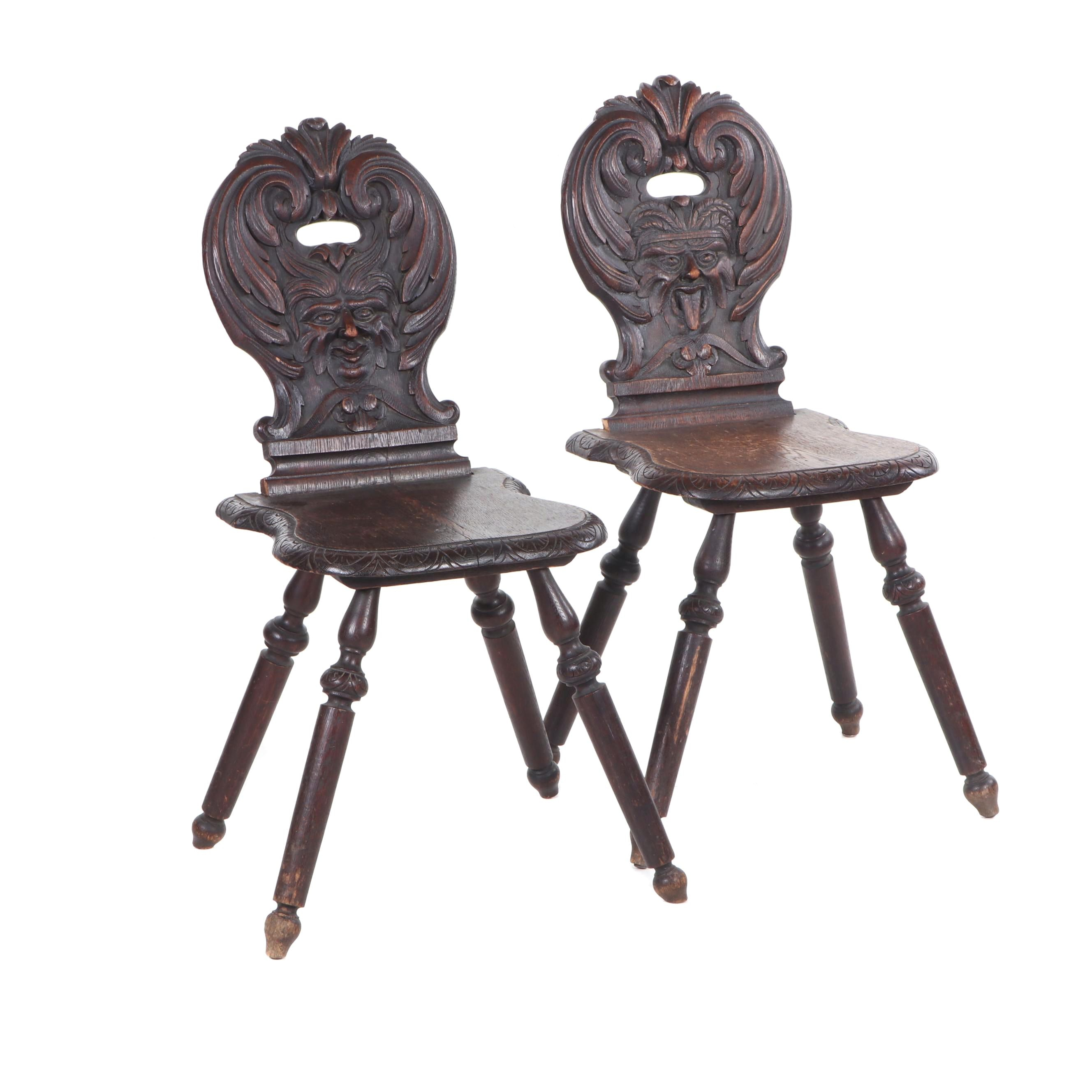 "Carved Oak Sgabello Style ""Green Man"" Chairs, Late 19th Century"