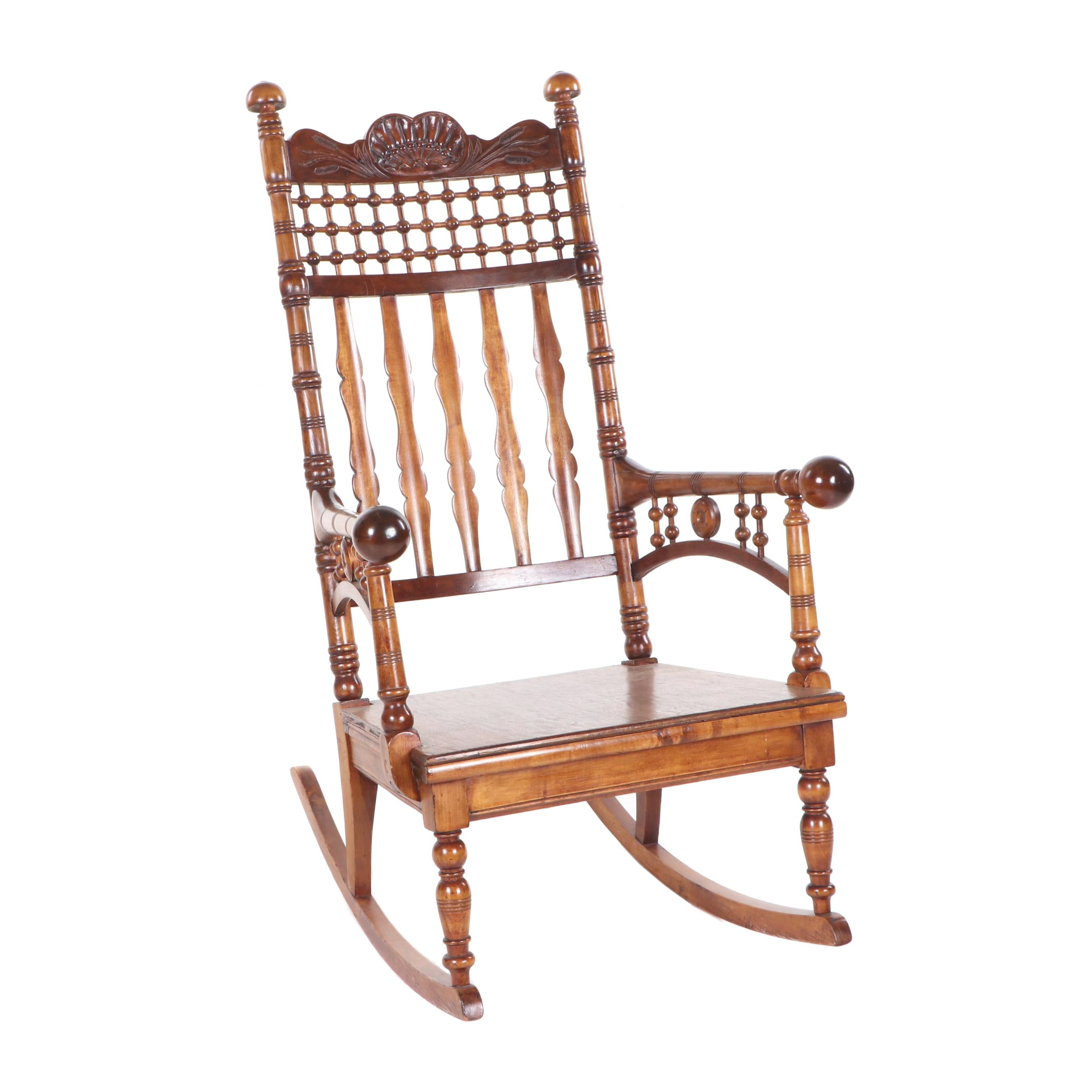 Victorian Aesthetic Movement Mixed Hardwood Rocking Chair, Late 19th Century