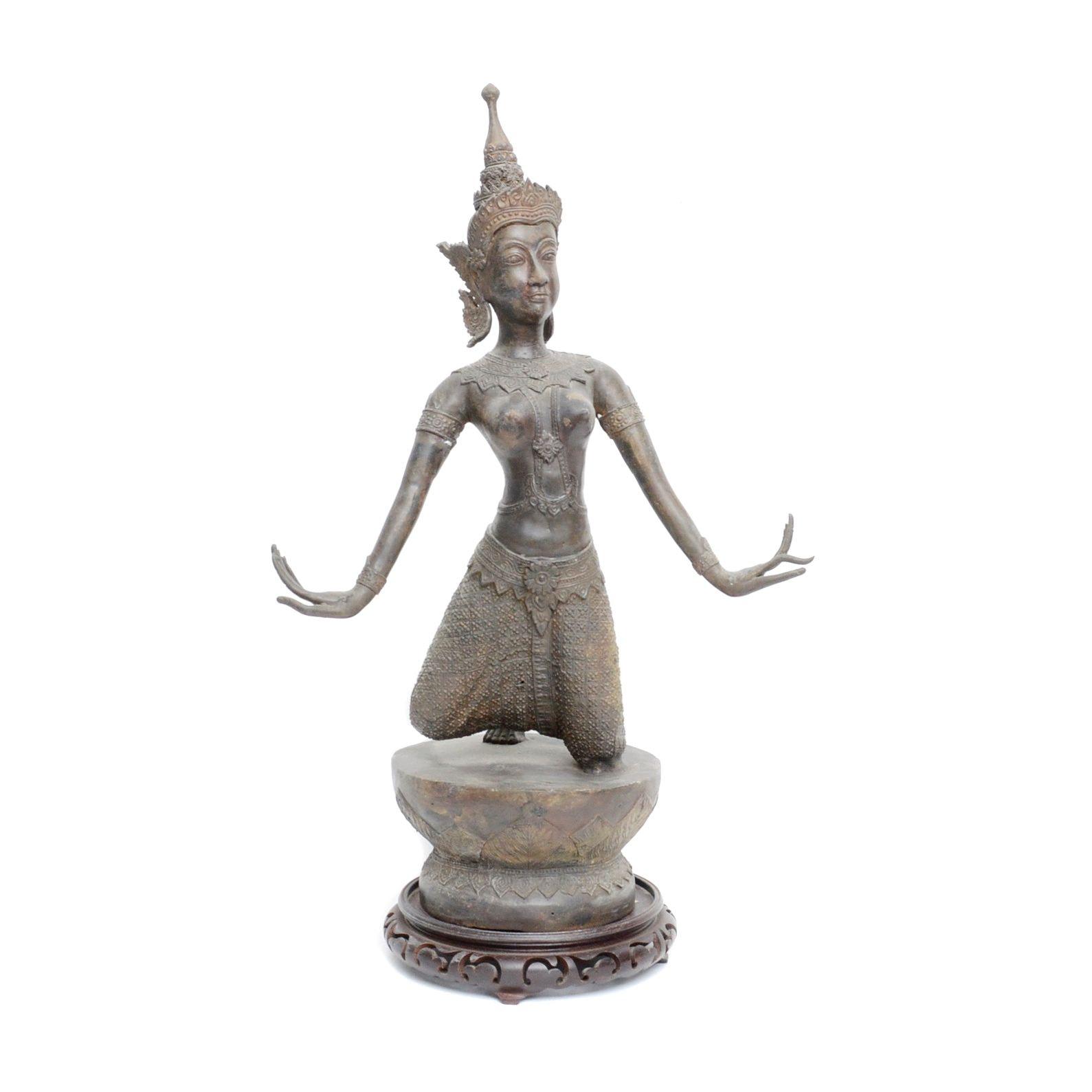 Thai Bronze Sculpture of Kneeling Dancer