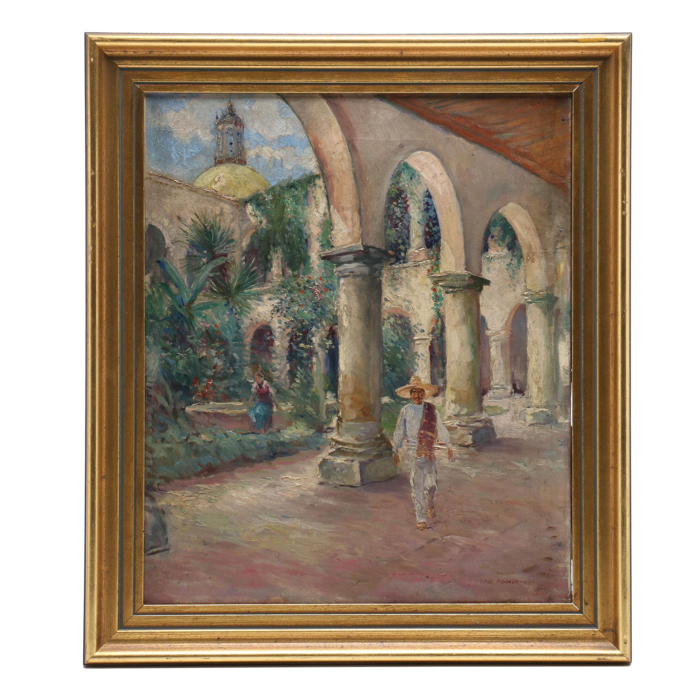 Paul Ashbrook Oil Painting of Figures in Courtyard