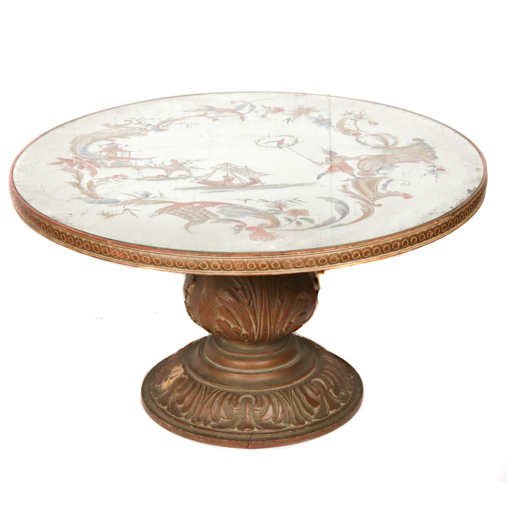 Hand Painted Silver Leaf Pedestal Coffee Table