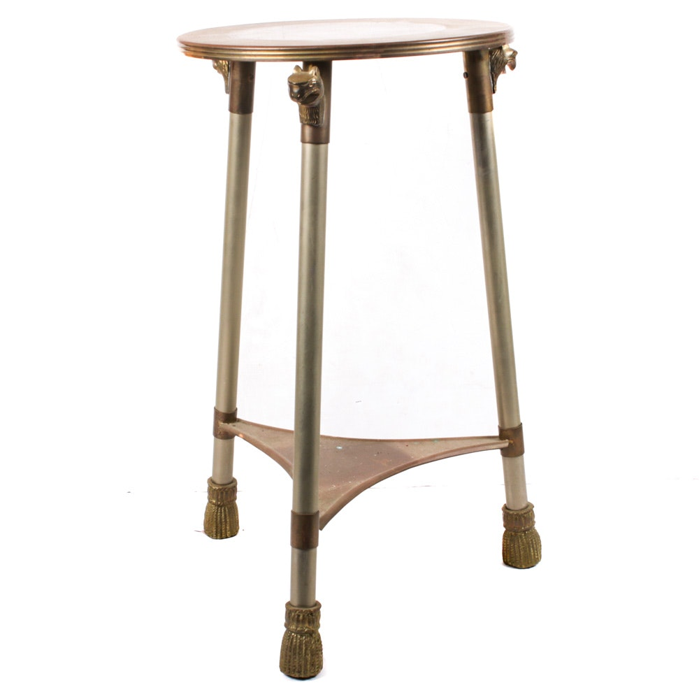 Brass and Chrome Tripod Accent Table