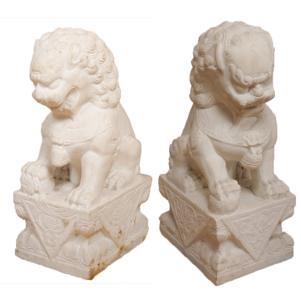 Chinese Guardian Lion Marble Sculptures