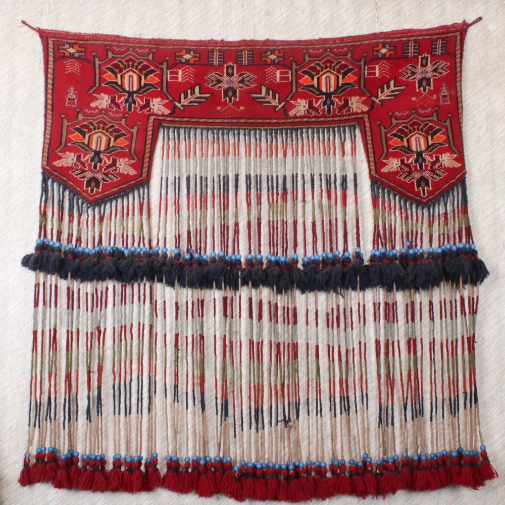 Hand-Knotted Turkmen Kapunuk Tent Decoration Wall Hanging