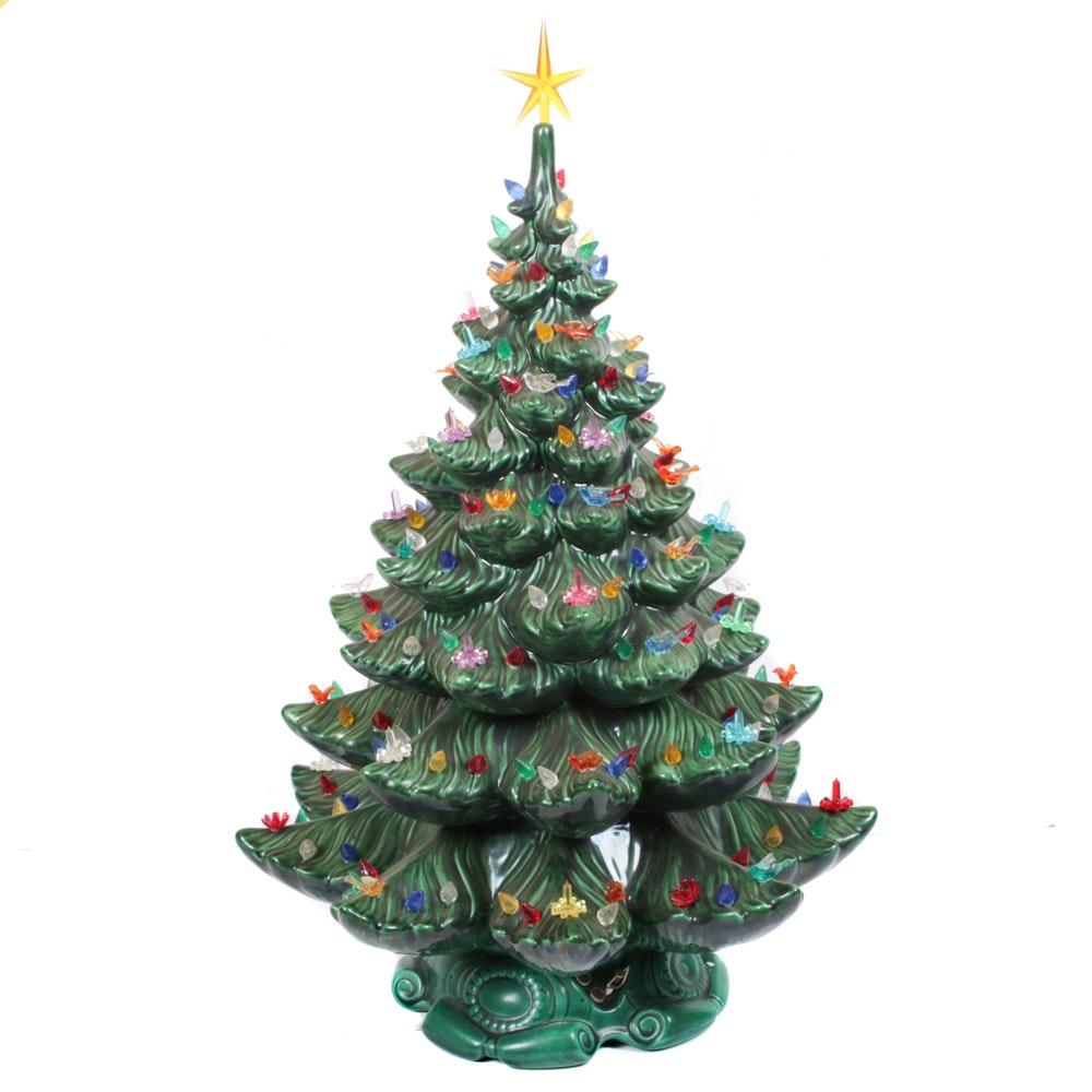 Large Rak Ceramic Illuminated Musical Table Top Christmas Tree, Circa 1970's