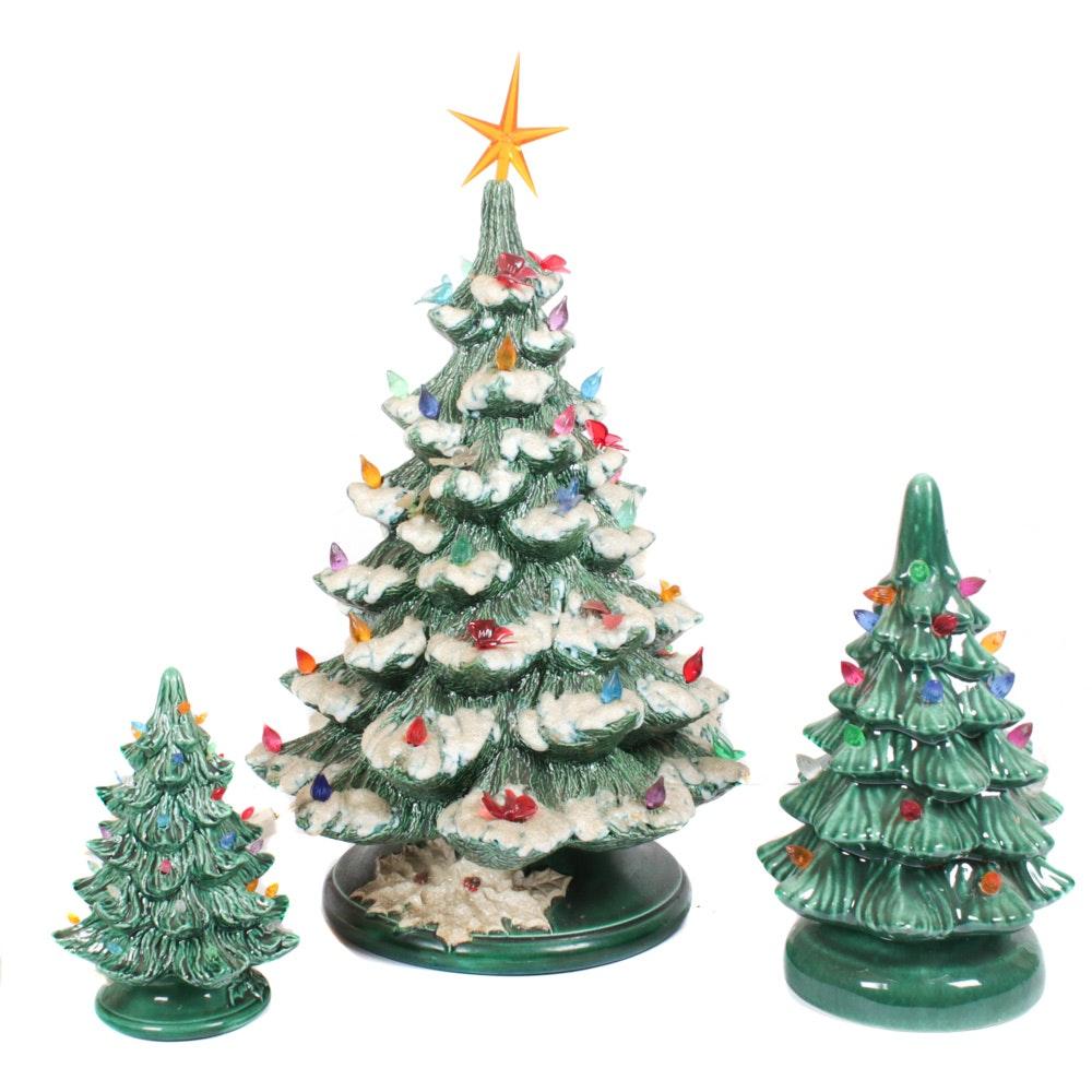Vintage Ceramic Illuminated Table Top Christmas Trees, Circa 1970's