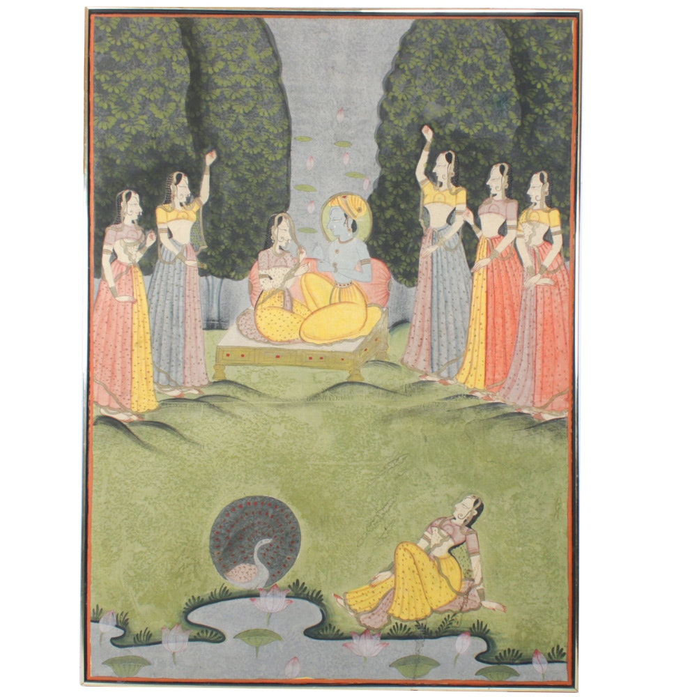 Indian Gouache Pichhwai Painting of Krishna and Radha