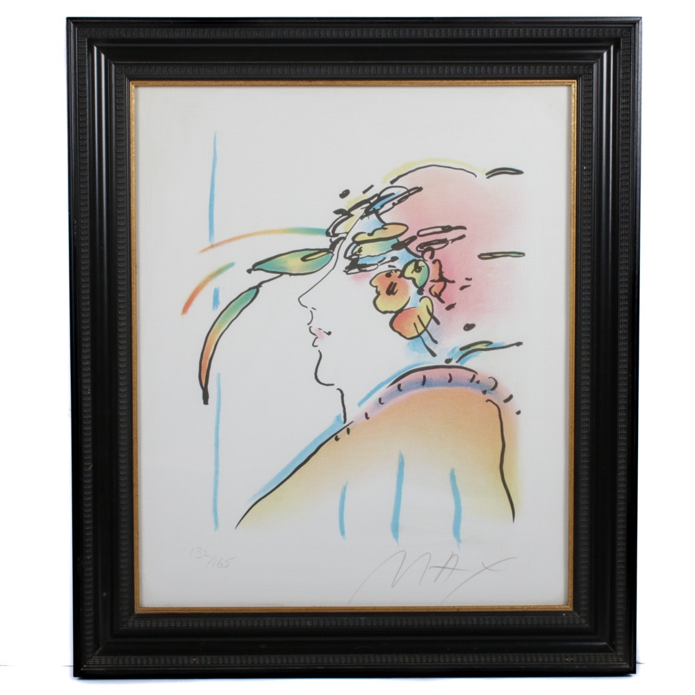 """Peter Max Lithograph """"Lady with Feathers"""""""