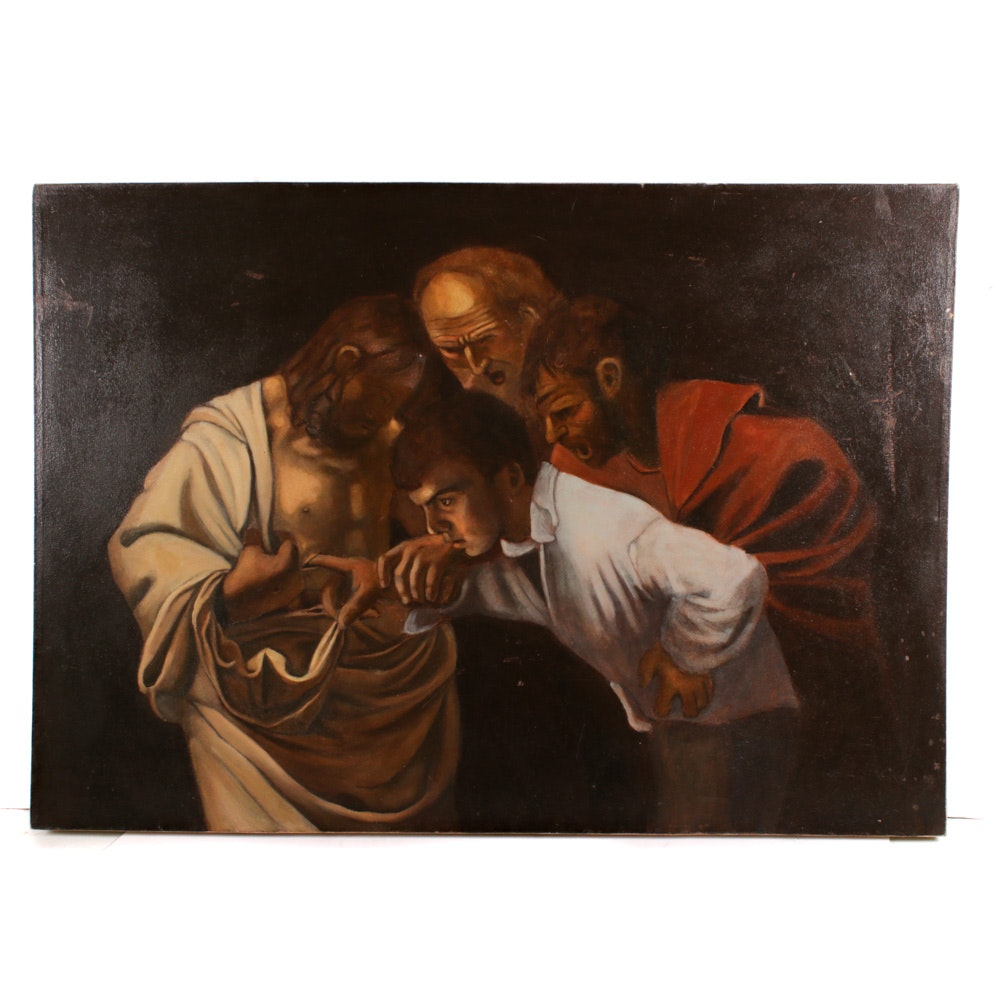 "Copy Oil Painting after Caravaggio ""The Incredulity of Saint Thomas"""