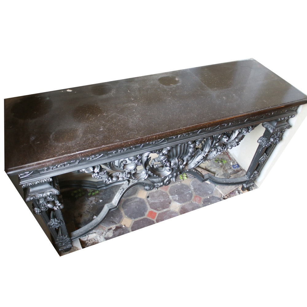 Ornate Marble Top Entryway Table