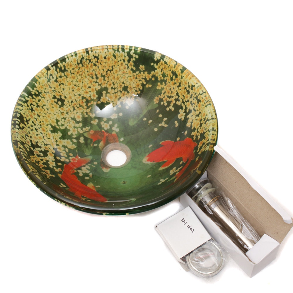 Fontaine Koi and Lily Pond Glass Bathroom Sink