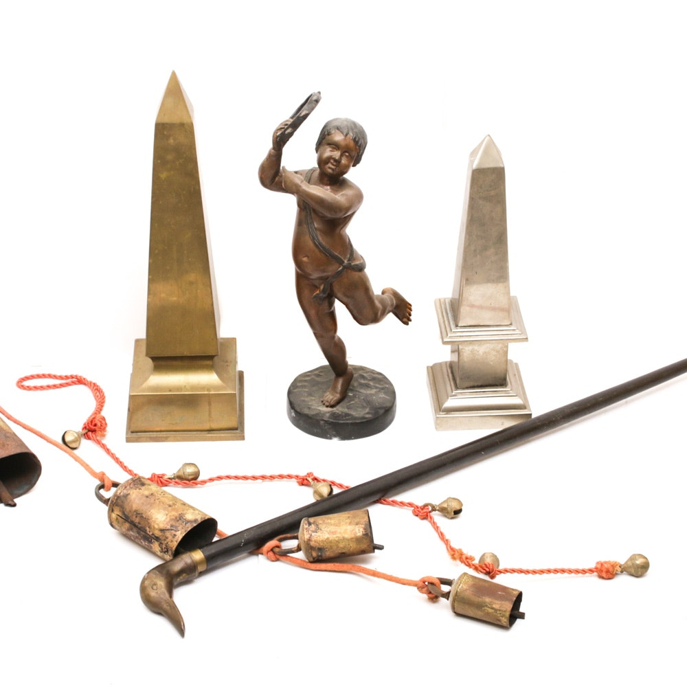 Brass Decor Including Duck Head Cane, Boy Tambourine Statue, Bells and More