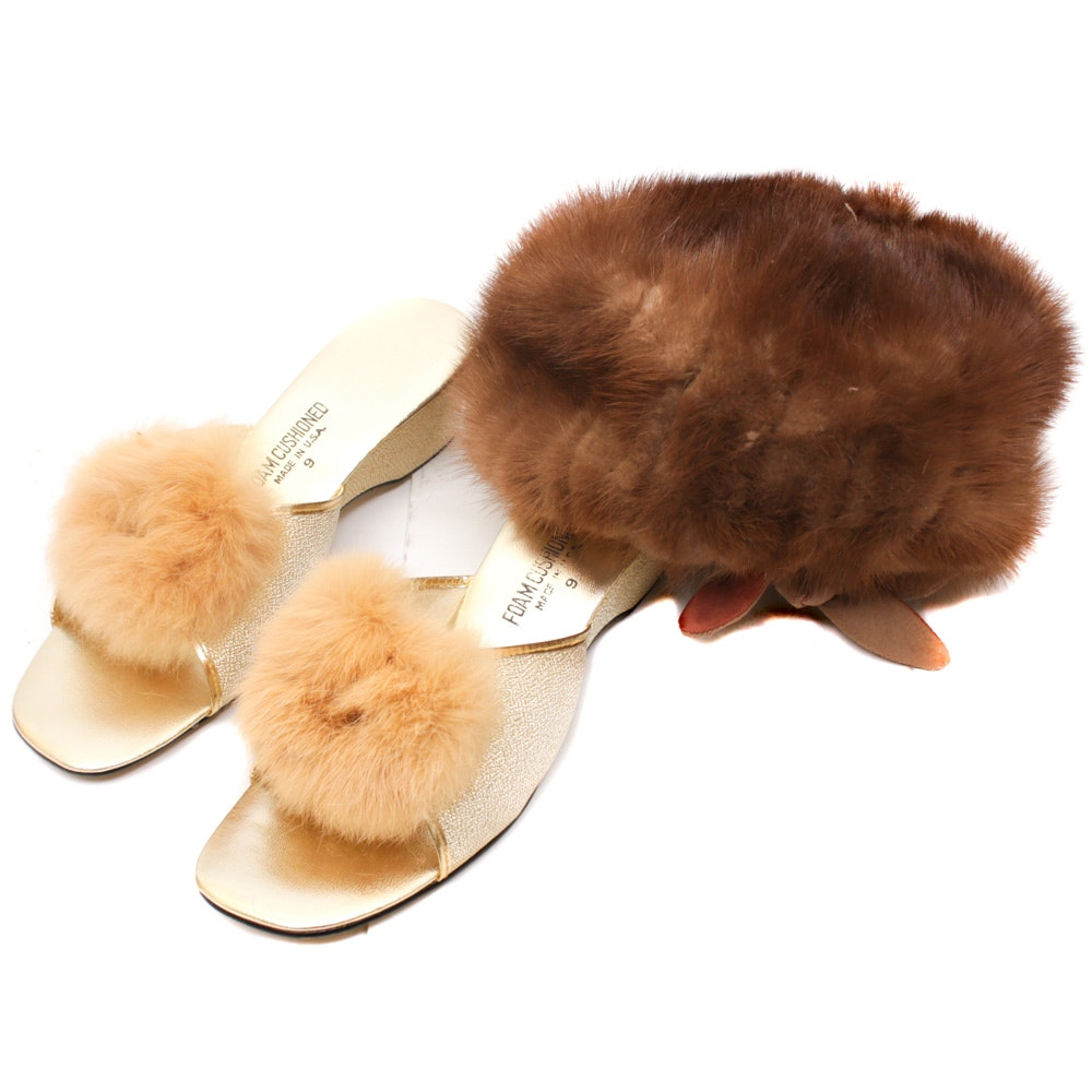 Betmar Mink Fur Hat and Rabbit Fur Metallic Wedge Heels, Vintage