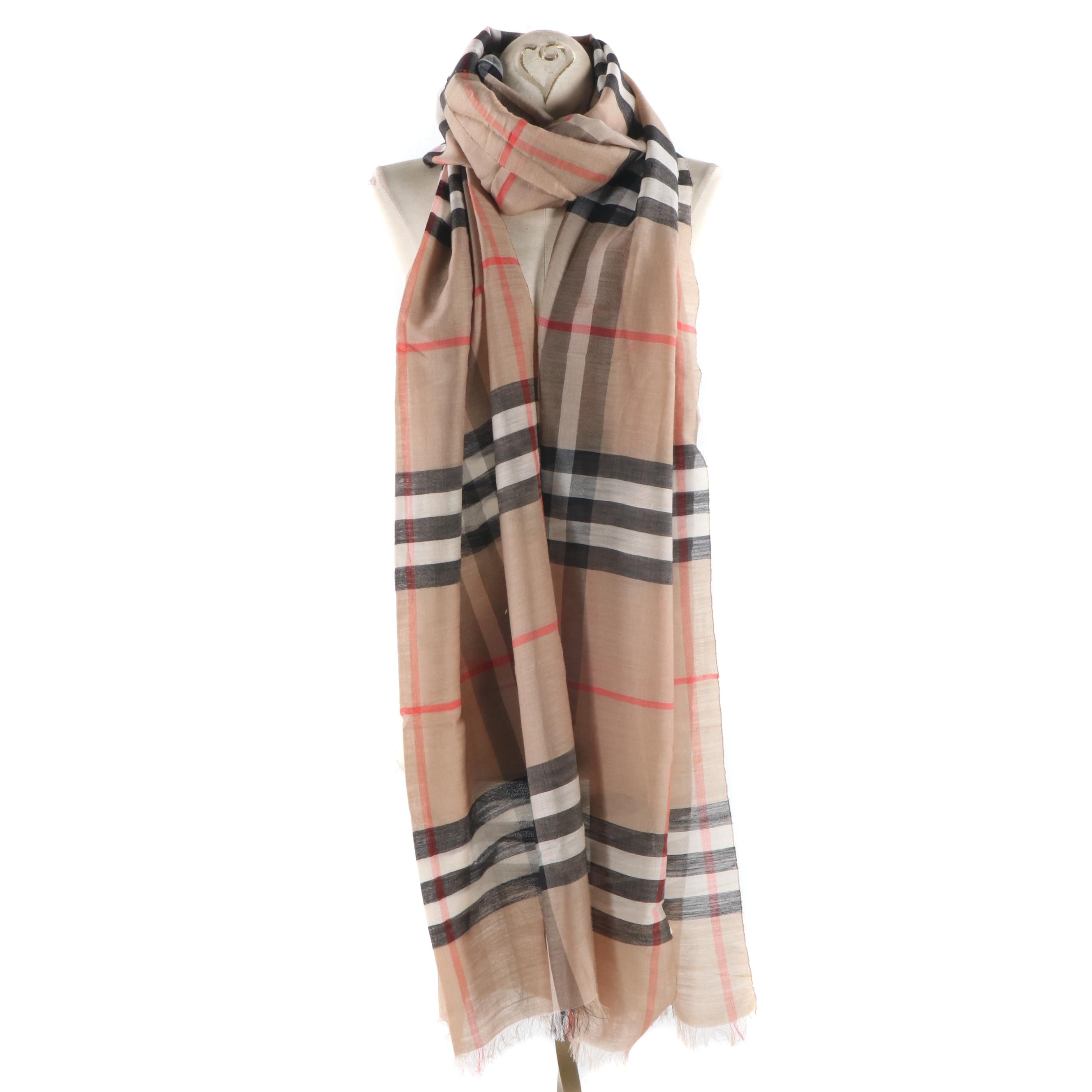 Burberry Wool and Silk Blend Plaid Scarf