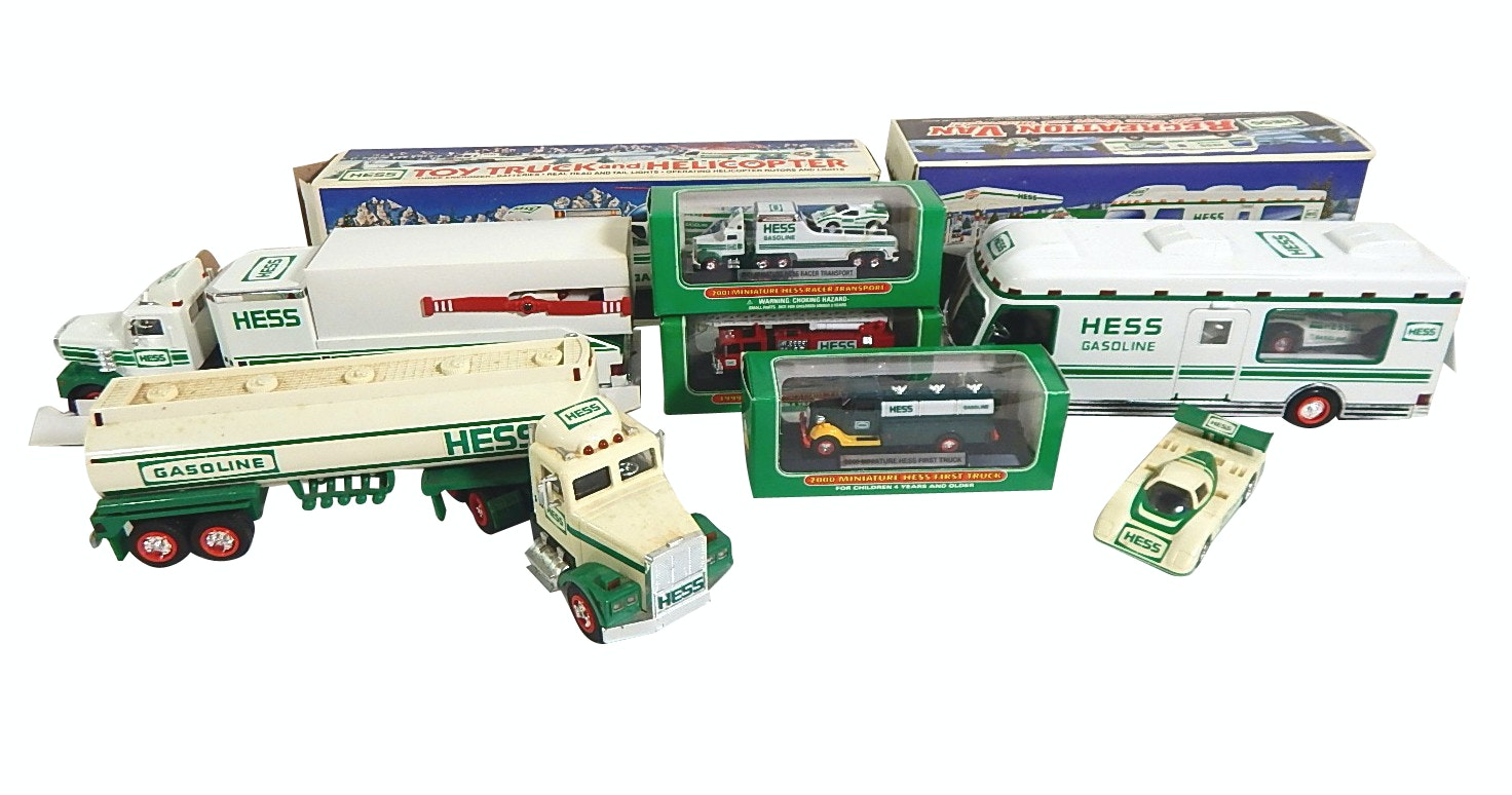 Hess Gasoline Vintage Truck,Race Car, RV, Truck with Helicopter, Minis - 7 Count