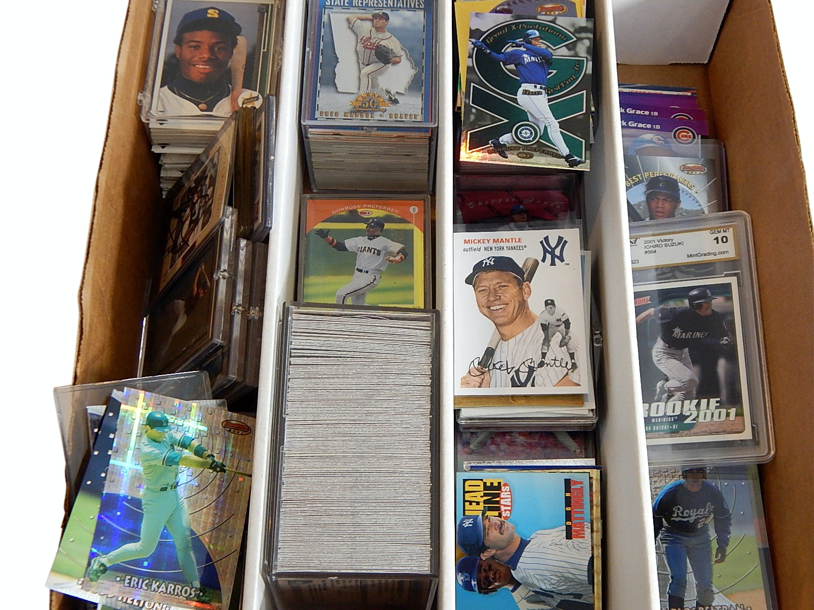 Box of Baseball Cards from 1980s to 2010s with Xfractors, Rookie, Inserts, More