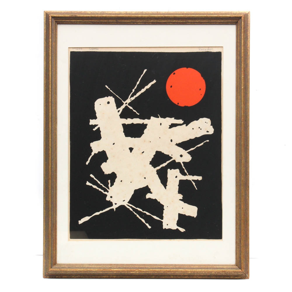 "Julio Rosado del Valle Abstract Serigraph ""Space"""