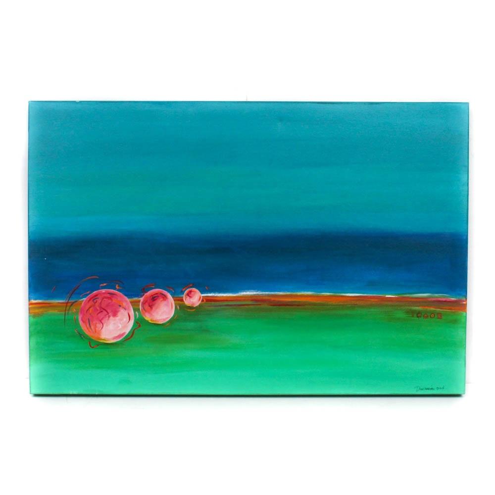 "Rick Dinihanian Acrylic Painting ""Three Balls Playing"""