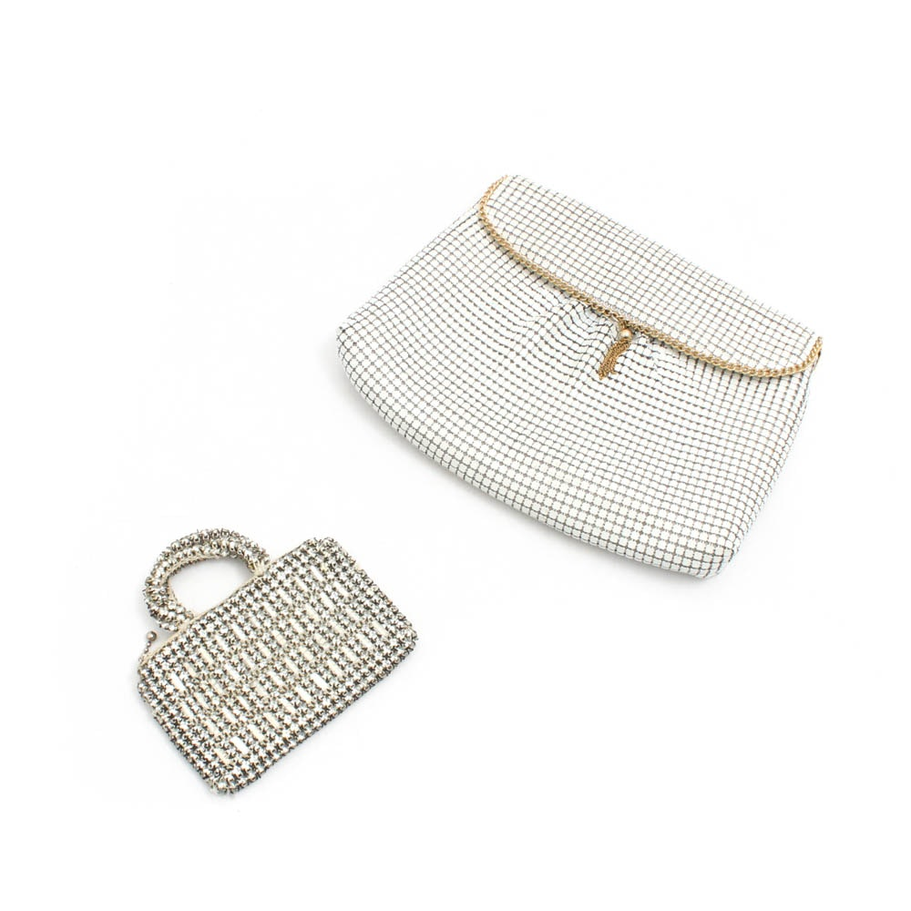Enameled Metal Mesh Clutch Evening Bag and Czechoslovakian Crystal Coin Purse