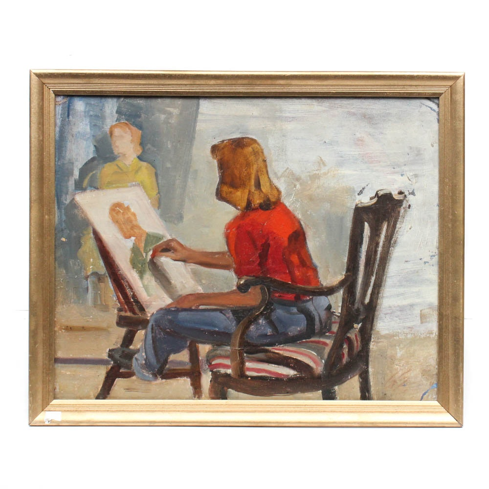 Straub Figural Oil Painting