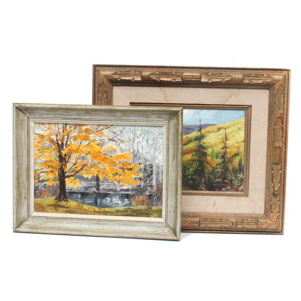 Mid Century Landscape Oil Paintings