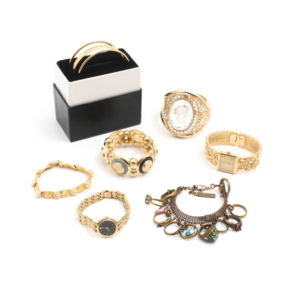 Gold Tone Costume Jewelry Featuring Whiting & Davis, Crown Trifari, Seiko