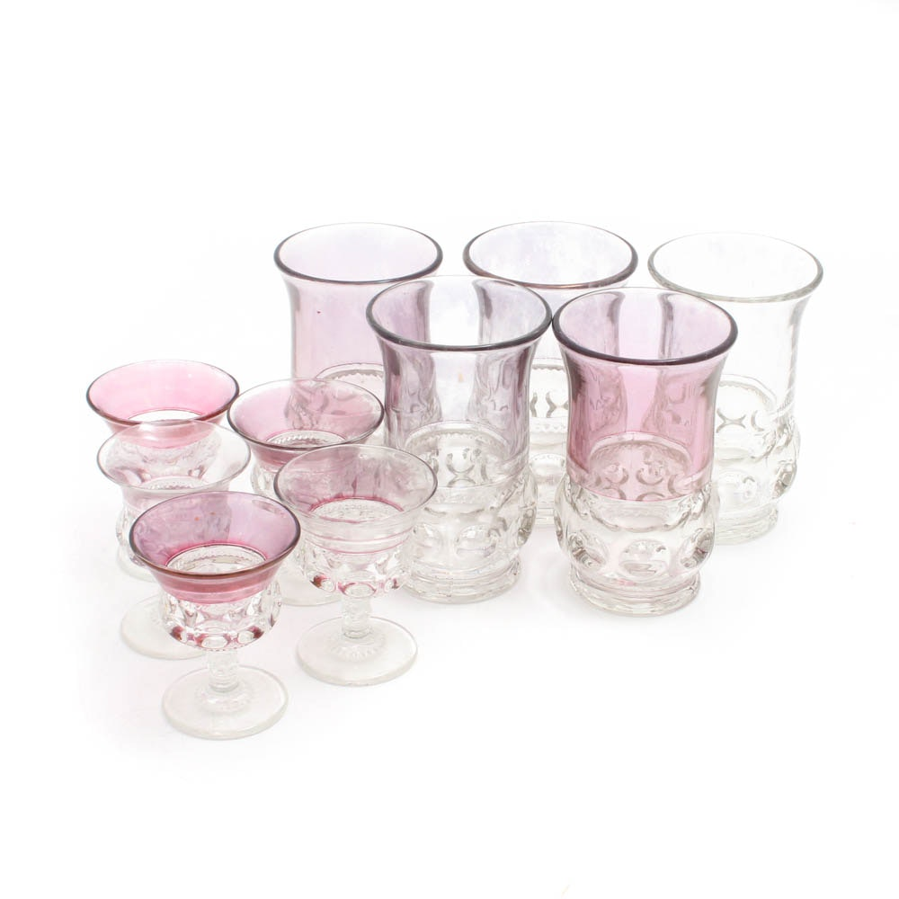 "Ruby Flash ""King's Crown"" Thumbprint Tumblers and Stemmed Cordials"