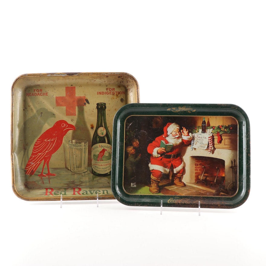 Red Raven and Coca-Cola Trays