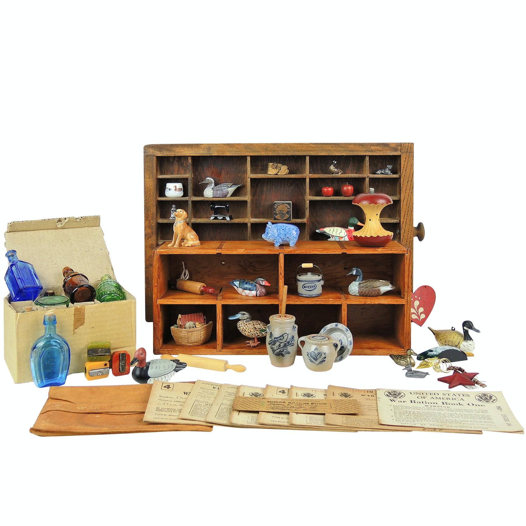 Miniatures, Type Set Box, Bakelite Pencil Sharpeners, World War ll Ration Books