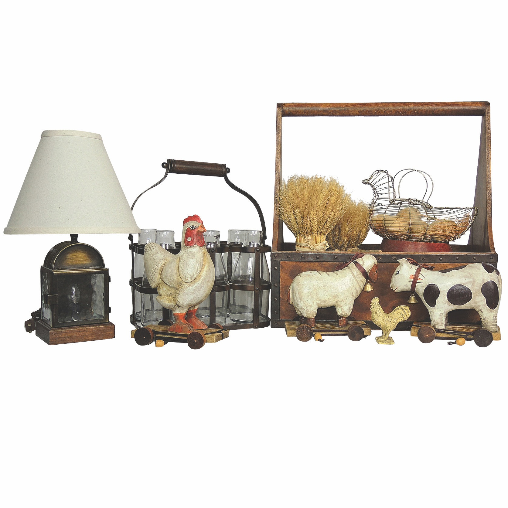 Country Home Farm Style Decor Including Glass Bottles with Metal Handled Carrier