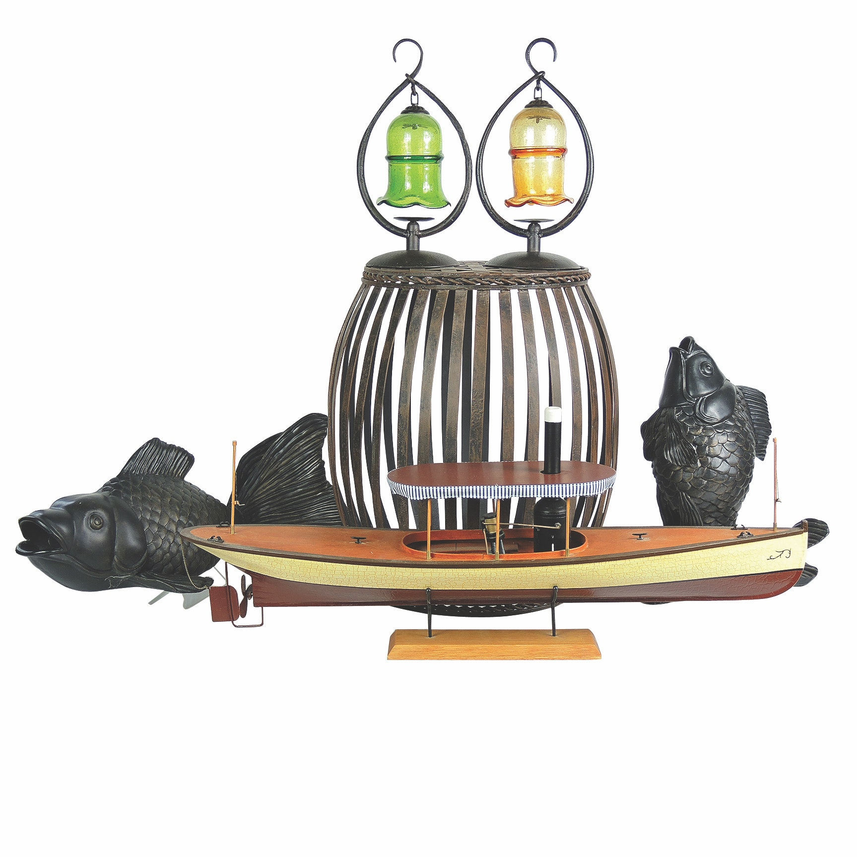 Decorative Home Decor Including Zen Lanterns and Wooden Model Boat