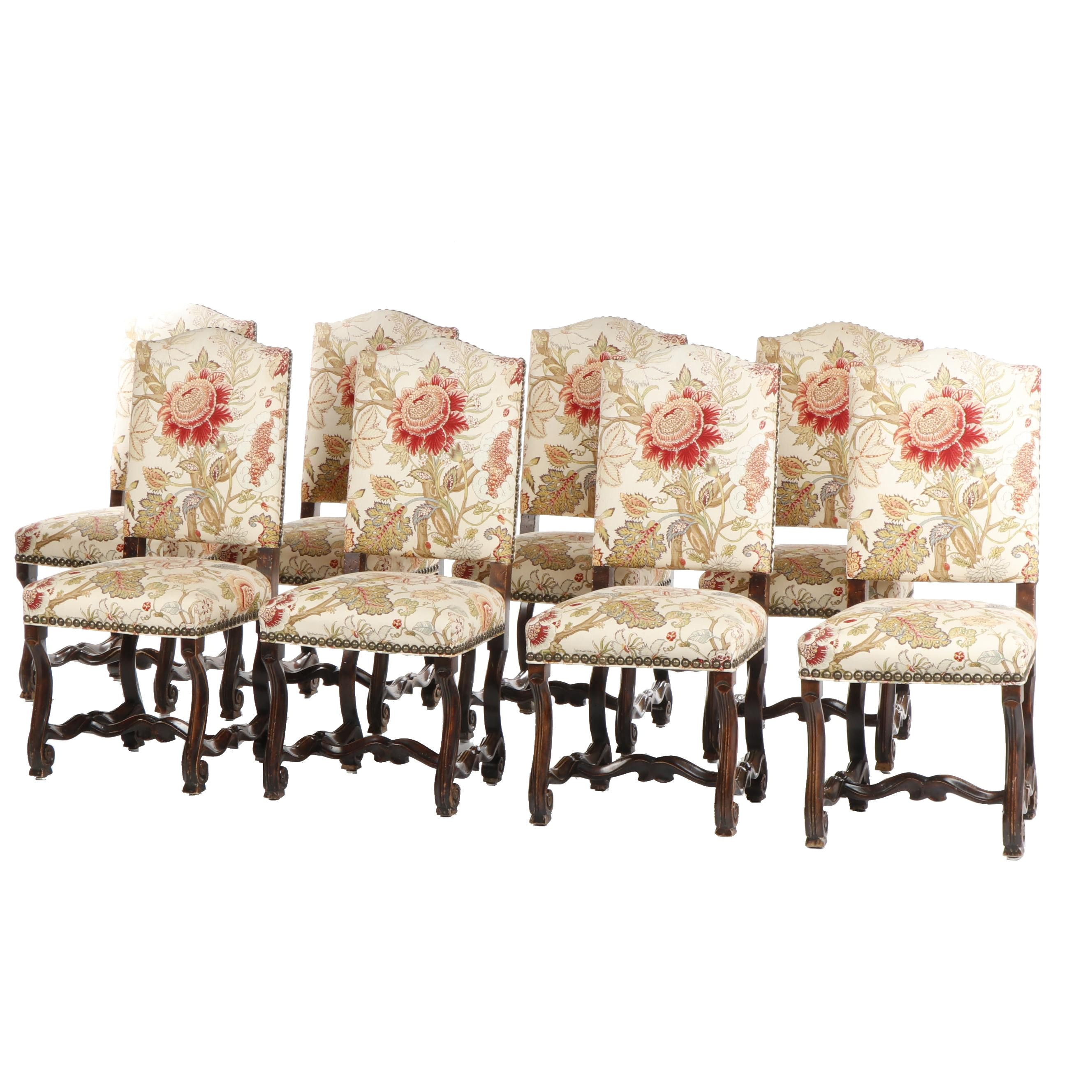 Italian Style Muslin Upholstered Side-chairs with Carved Walnut Stretchers