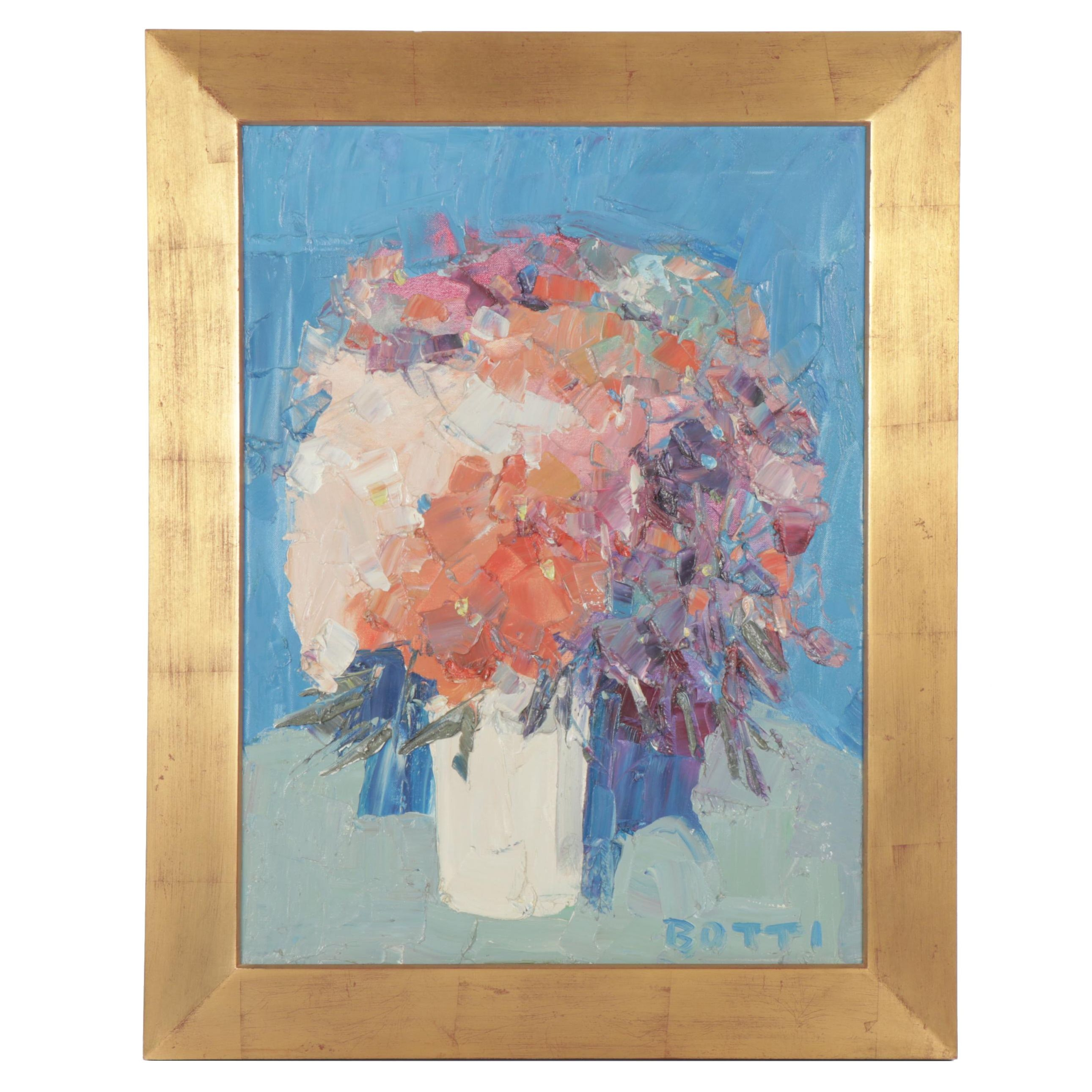 "Italo George Botti Oil Painting ""Flowers on Blue"""