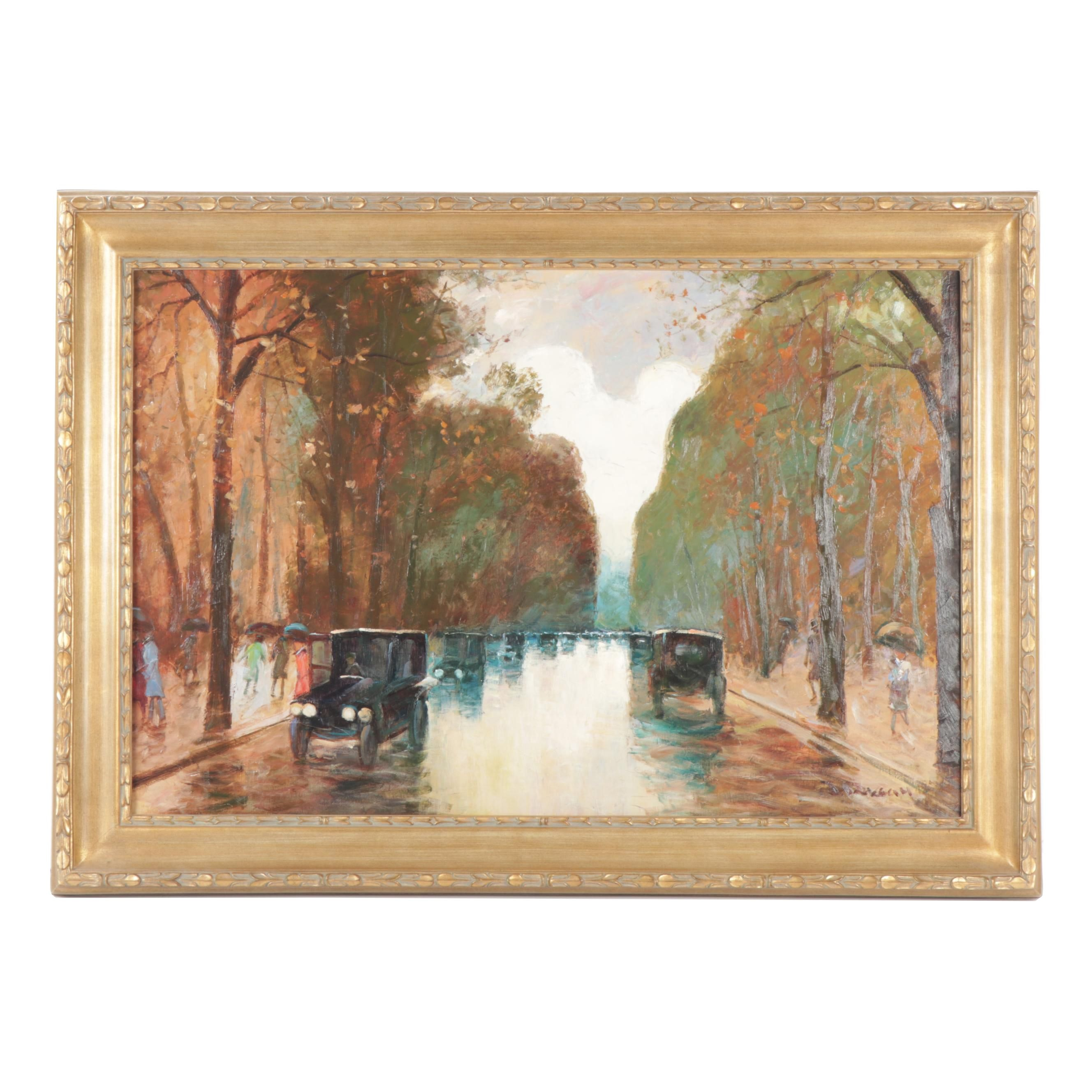 J. Deveau French Impressionist Style Street Scene Oil Painting