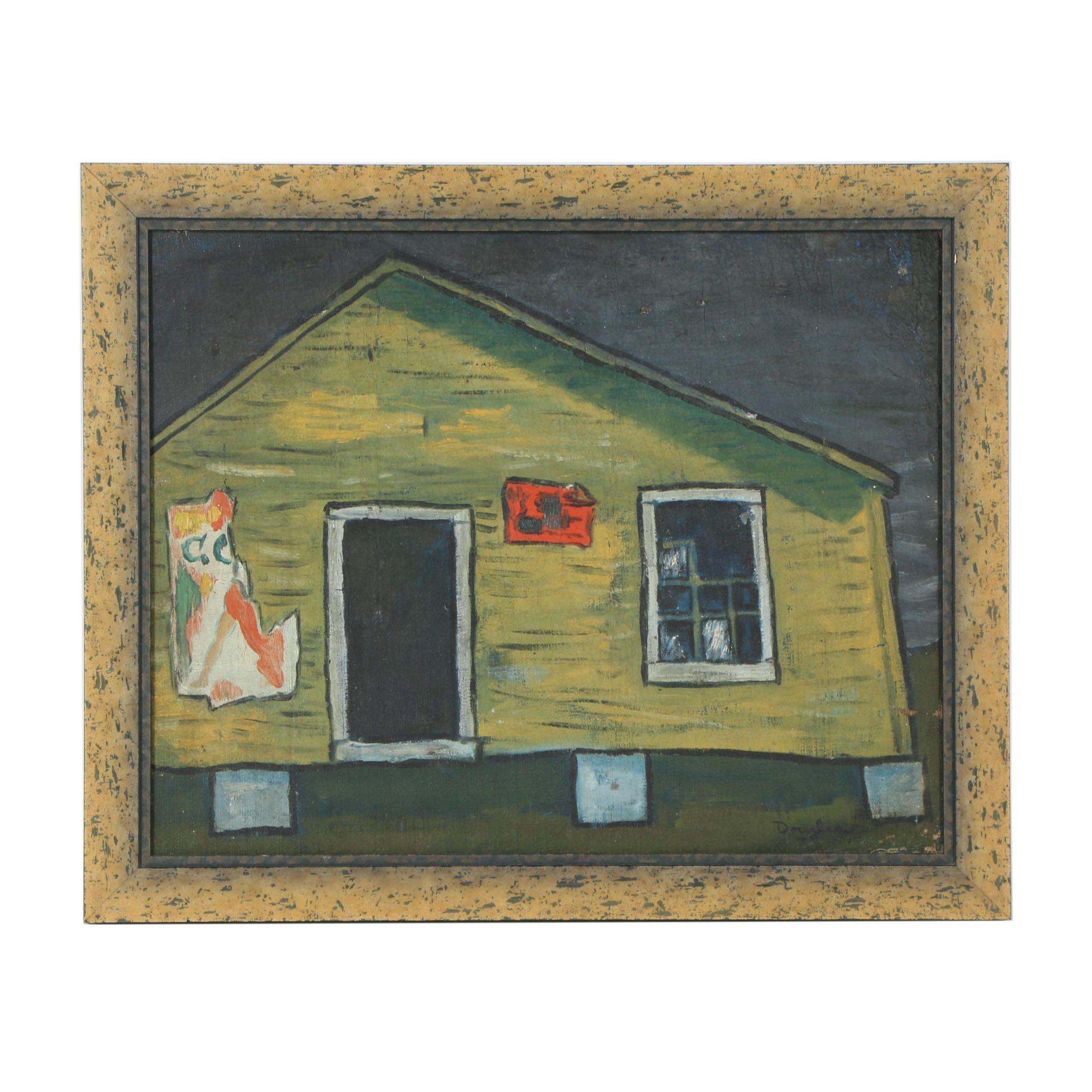 "Mid 20th Century Oil Painting ""Roadside"""