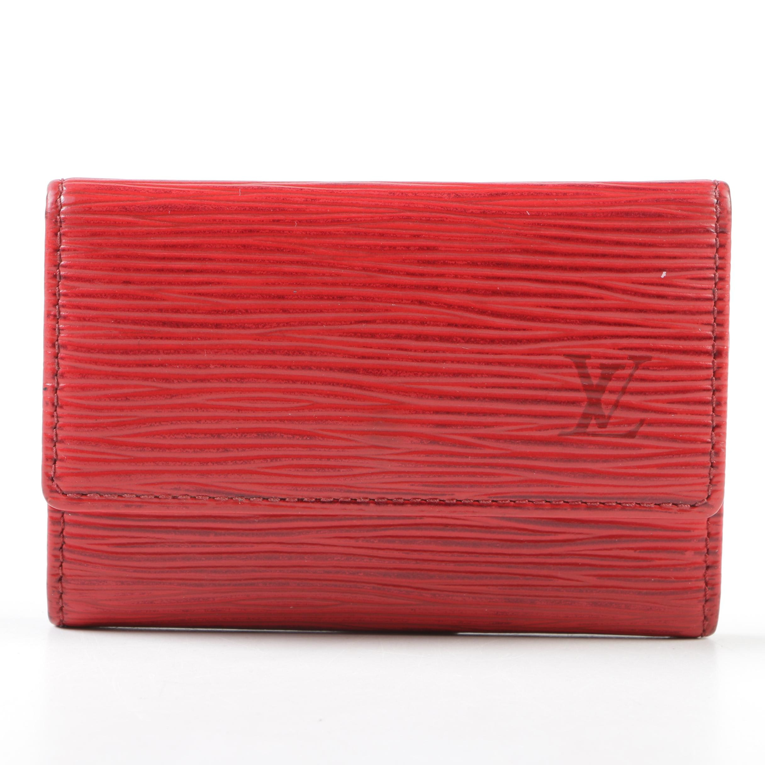Louis Vuitton Paris Castilian Red Epi Leather Six Key Holder, Made in France