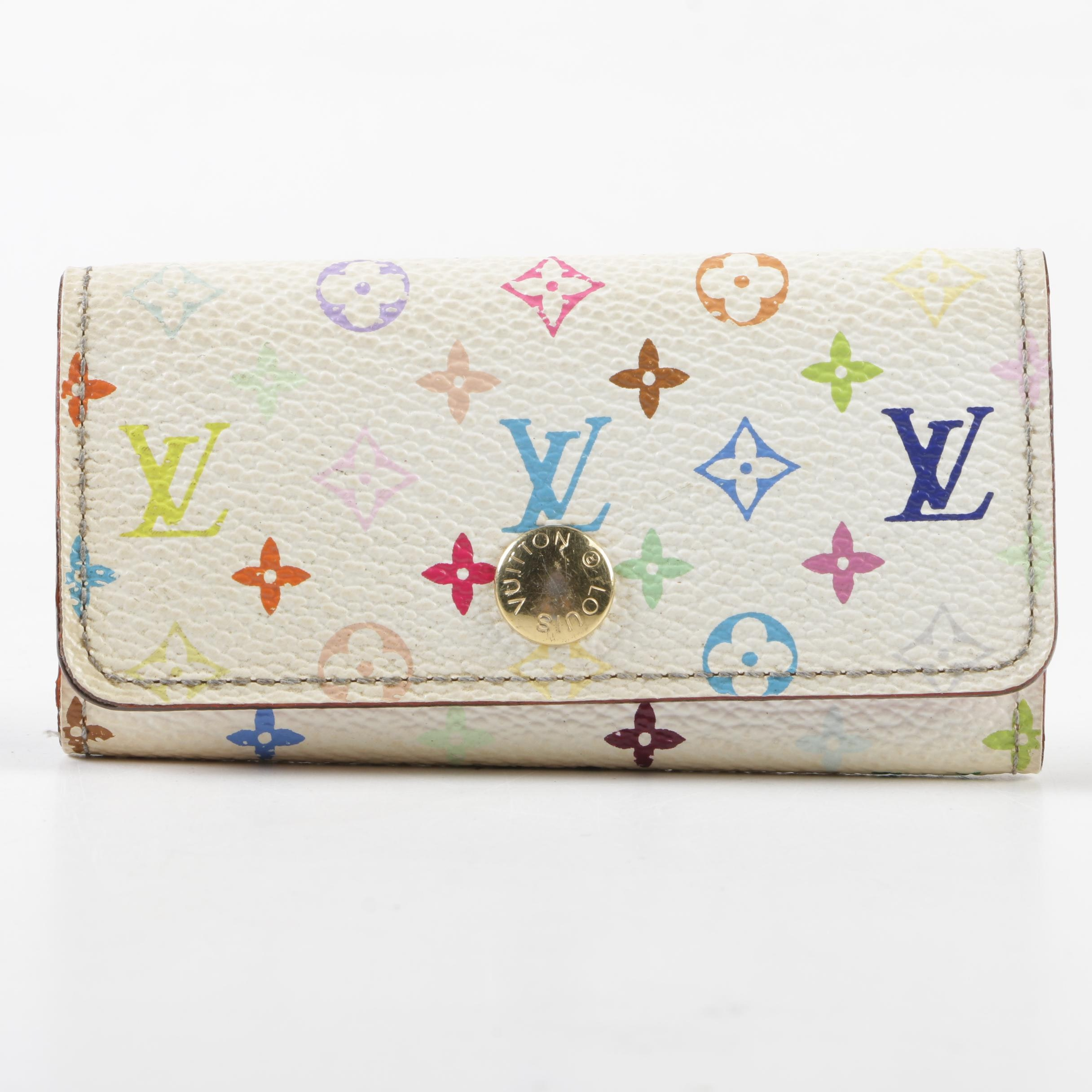 Louis Vuitton Paris Monogram Multicolore Four Key Holder, Made in France