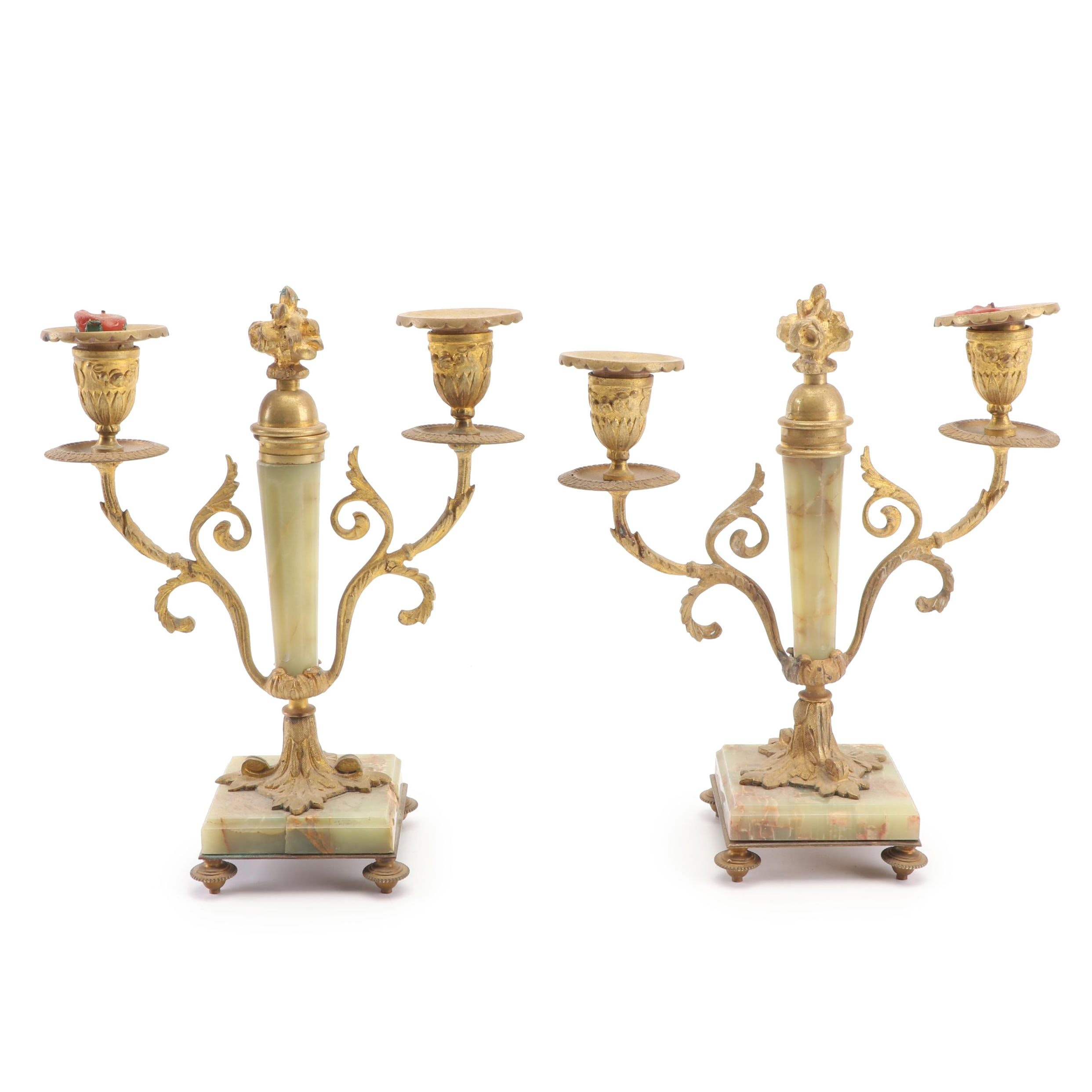 Brass and Agate Candelabra, Late 19th to Early 20th Century