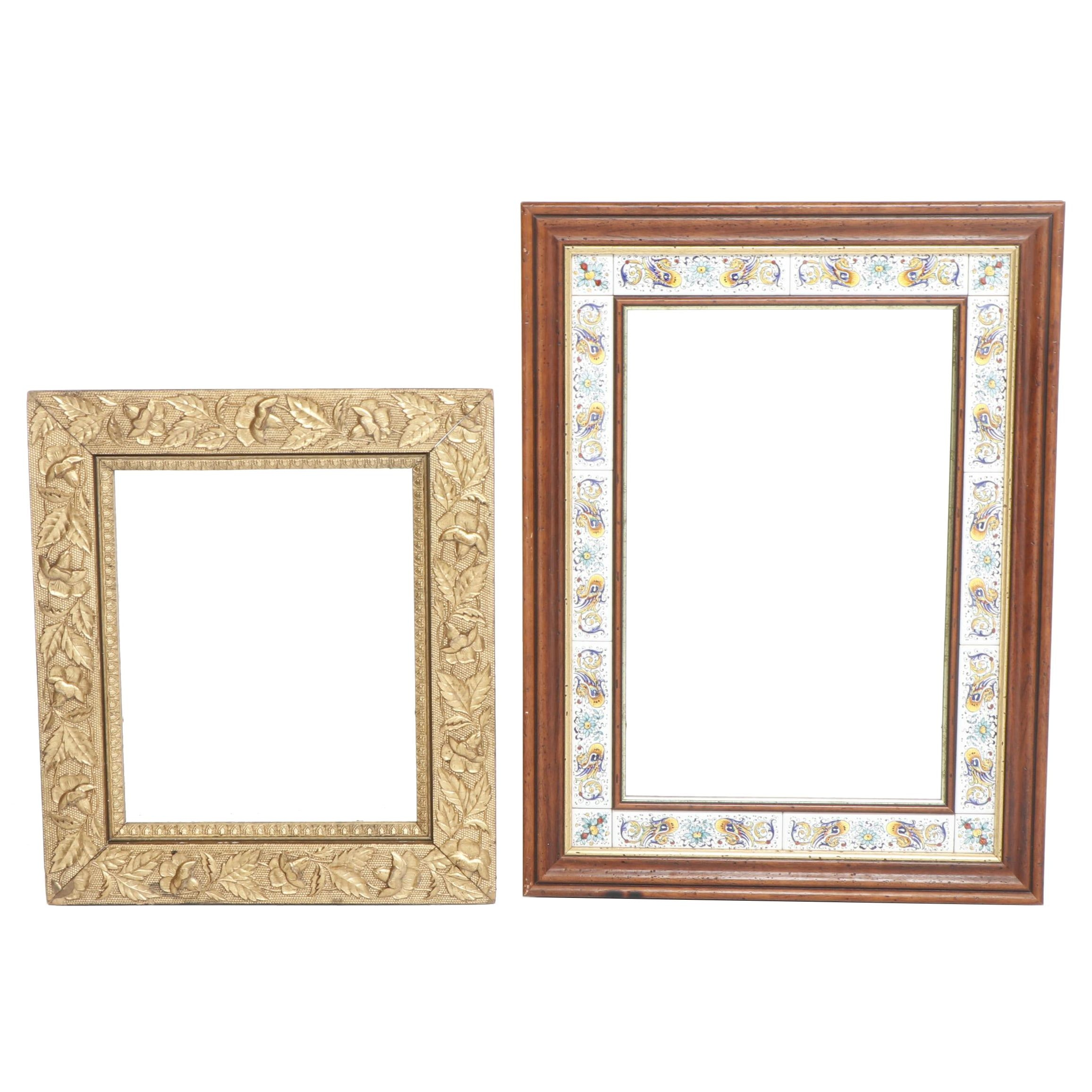 Hand-Painted Deruta Style Tile Framed Mirror with Metal Embossed Mirror
