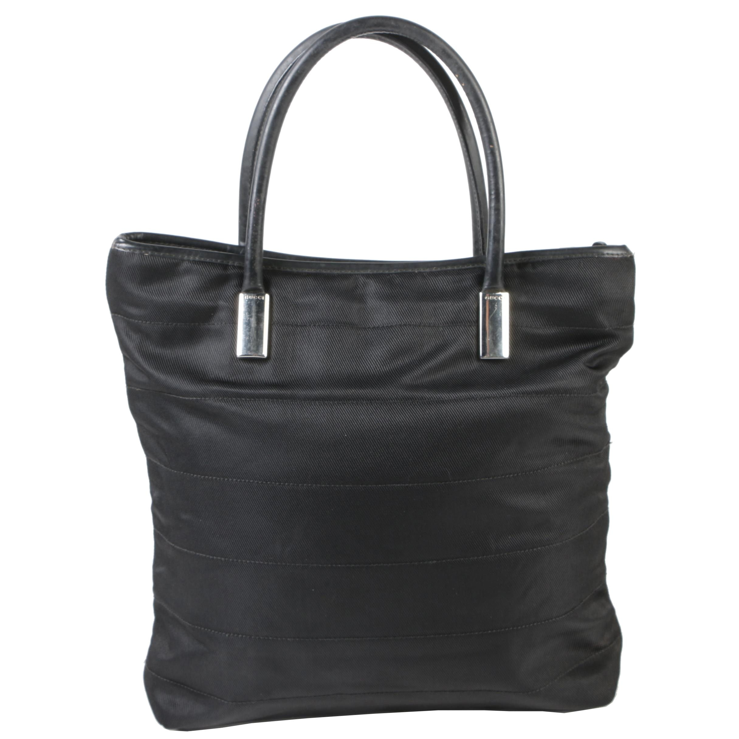 Gucci Black Nylon and Leather North South Shoulder Tote