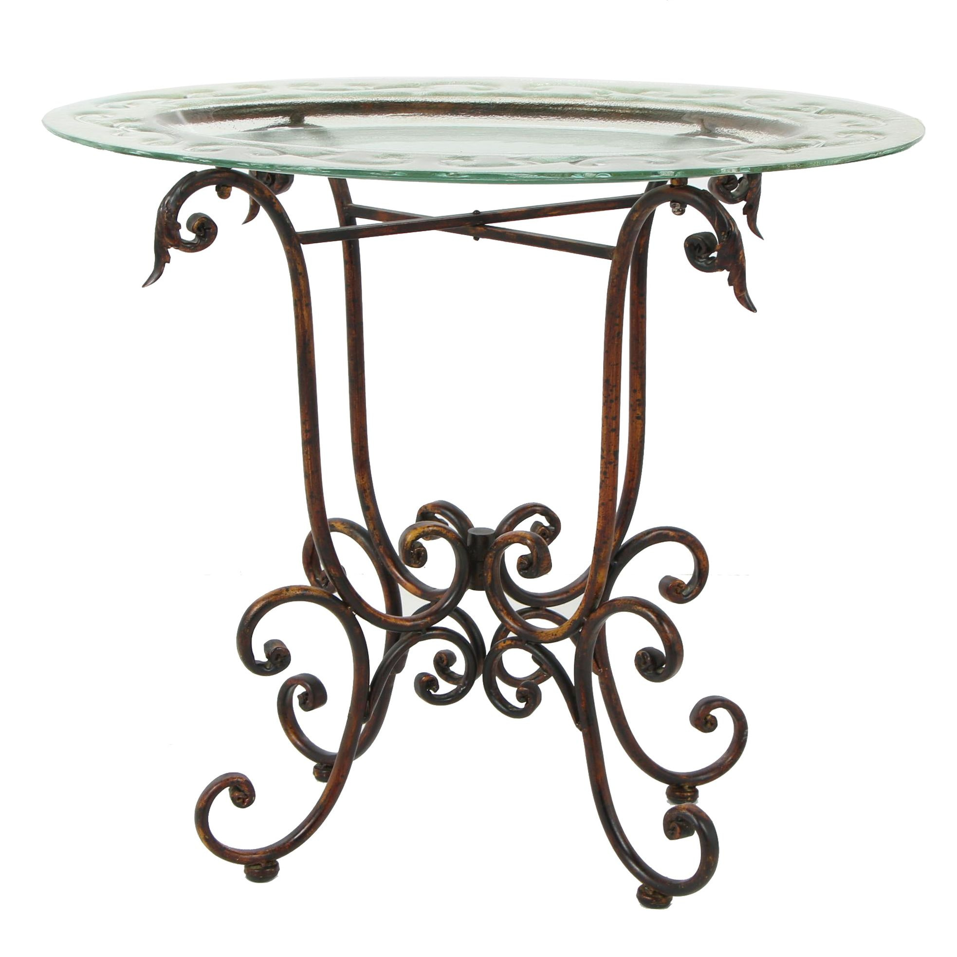 Contemporary Glass Top Accent Table with Wrought Metal Base